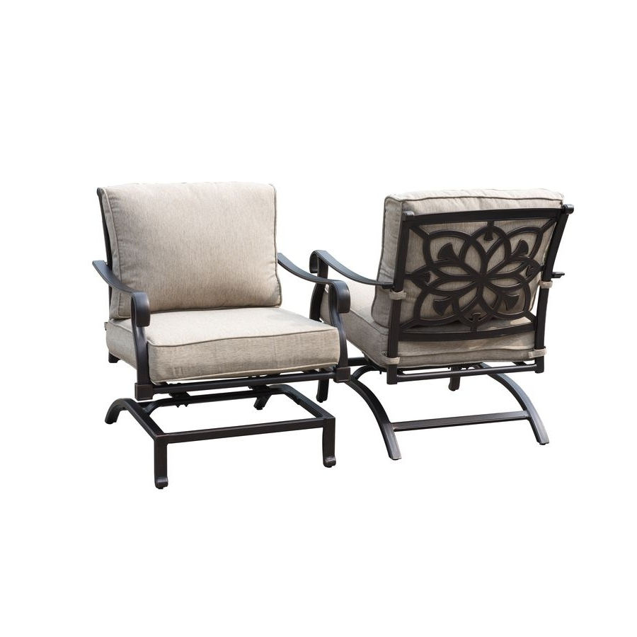 Aluminum Patio Rocking Chairs Intended For Widely Used $399 Lowes Allen + Roth Ebervale 2 Count Brown With Golden Brush (View 1 of 20)