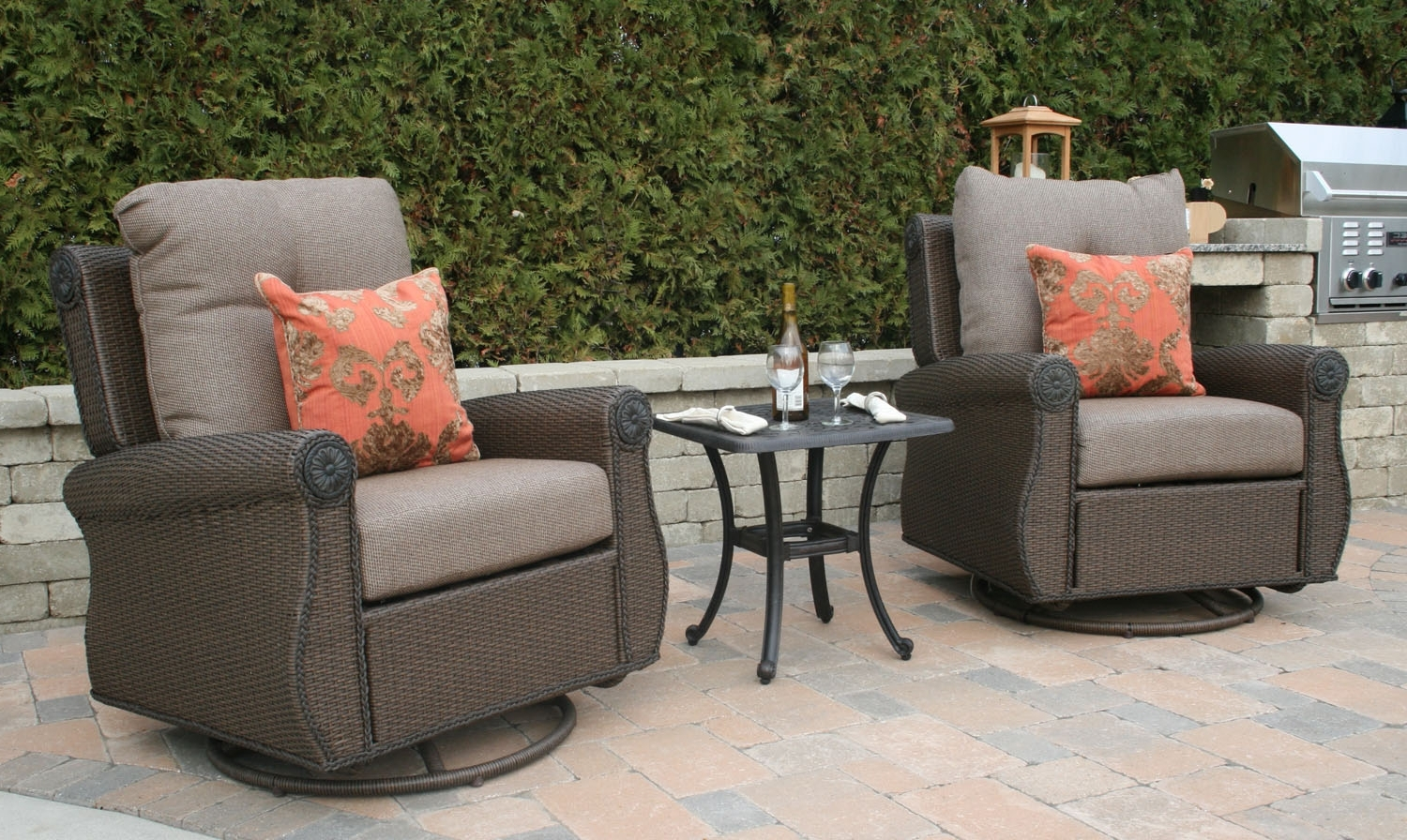 Aluminum Patio Rocking Chairs With Regard To Well Liked Giovanna Luxury All Weather Wicker/cast Aluminum Patio Furniture (View 4 of 20)