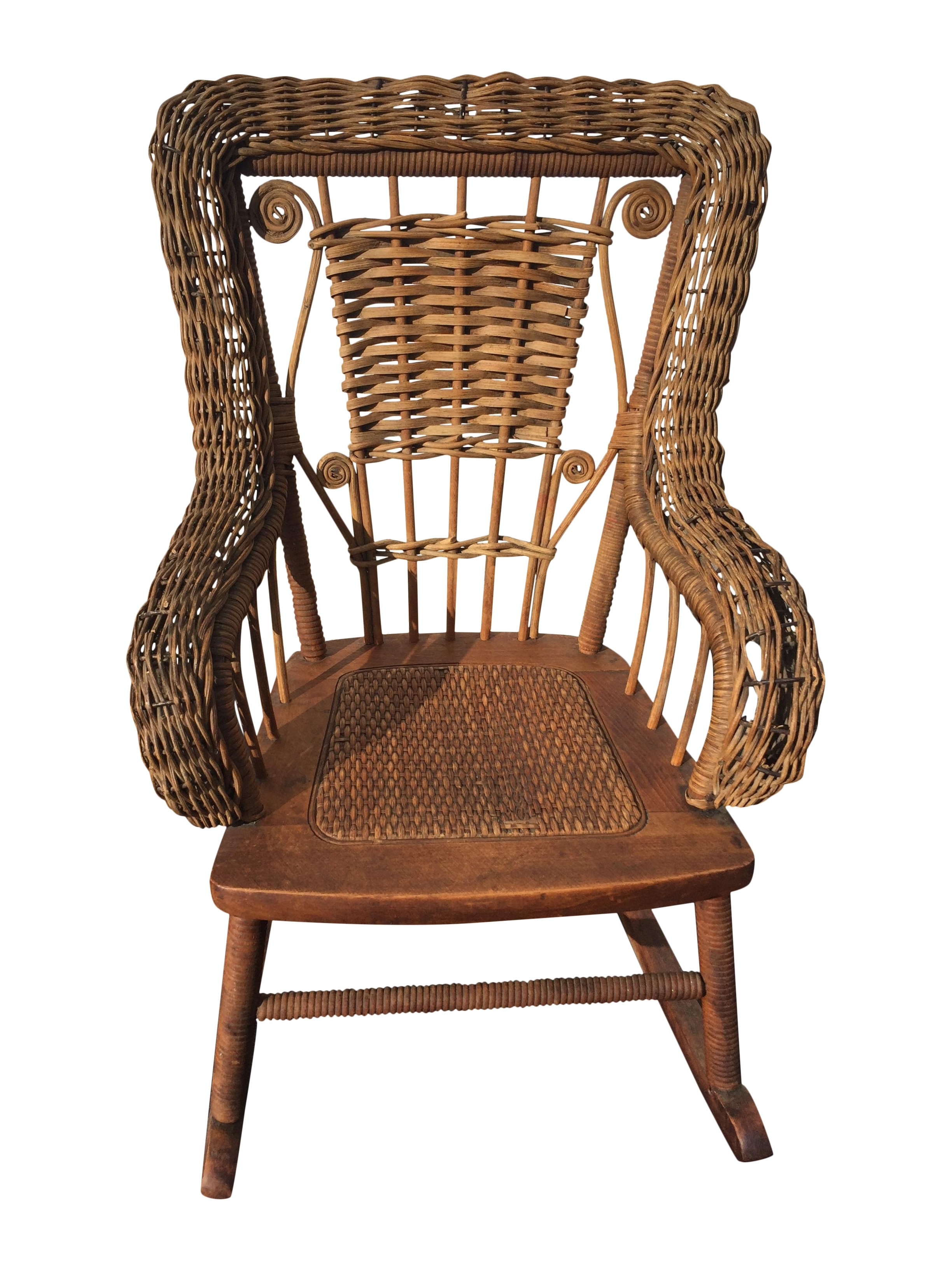 Antique Childrens Wicker Spindle Rocking Chair Chairish Childs Uk In Most Recent Vintage Wicker Rocking Chairs (View 2 of 20)