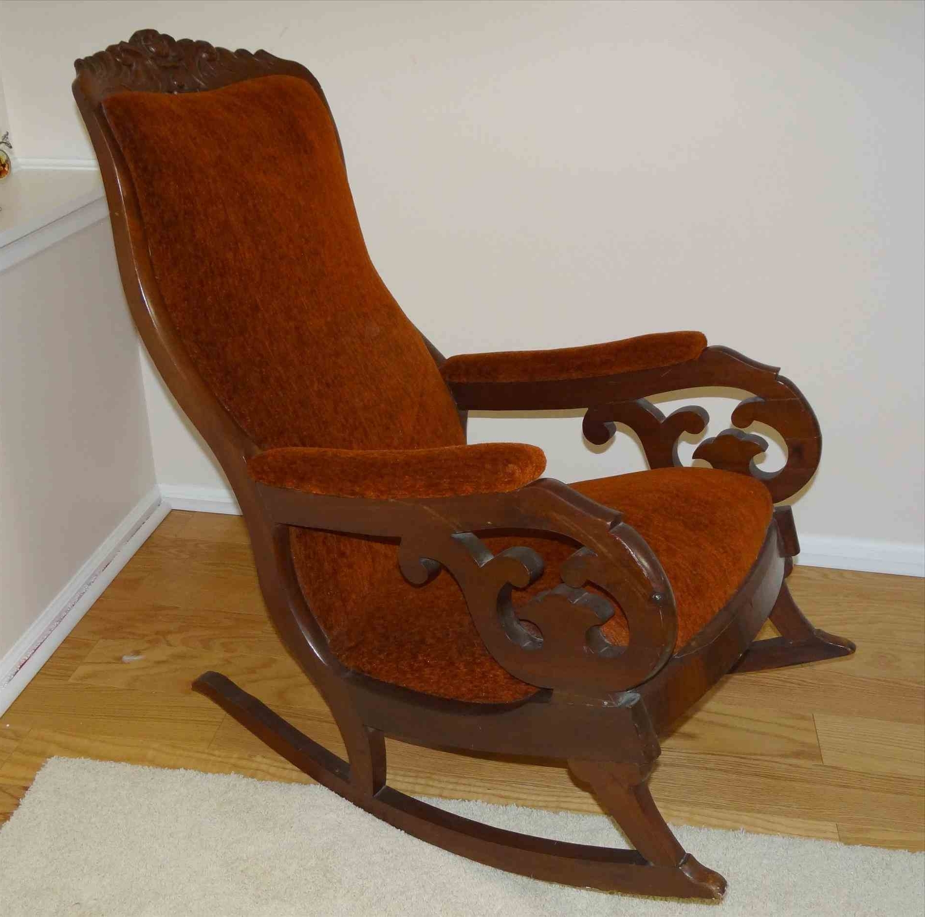 Antique Old Fashioned Rocking Chair Mahogany Upholstered Rocking Regarding Most Popular Old Fashioned Rocking Chairs (View 2 of 20)