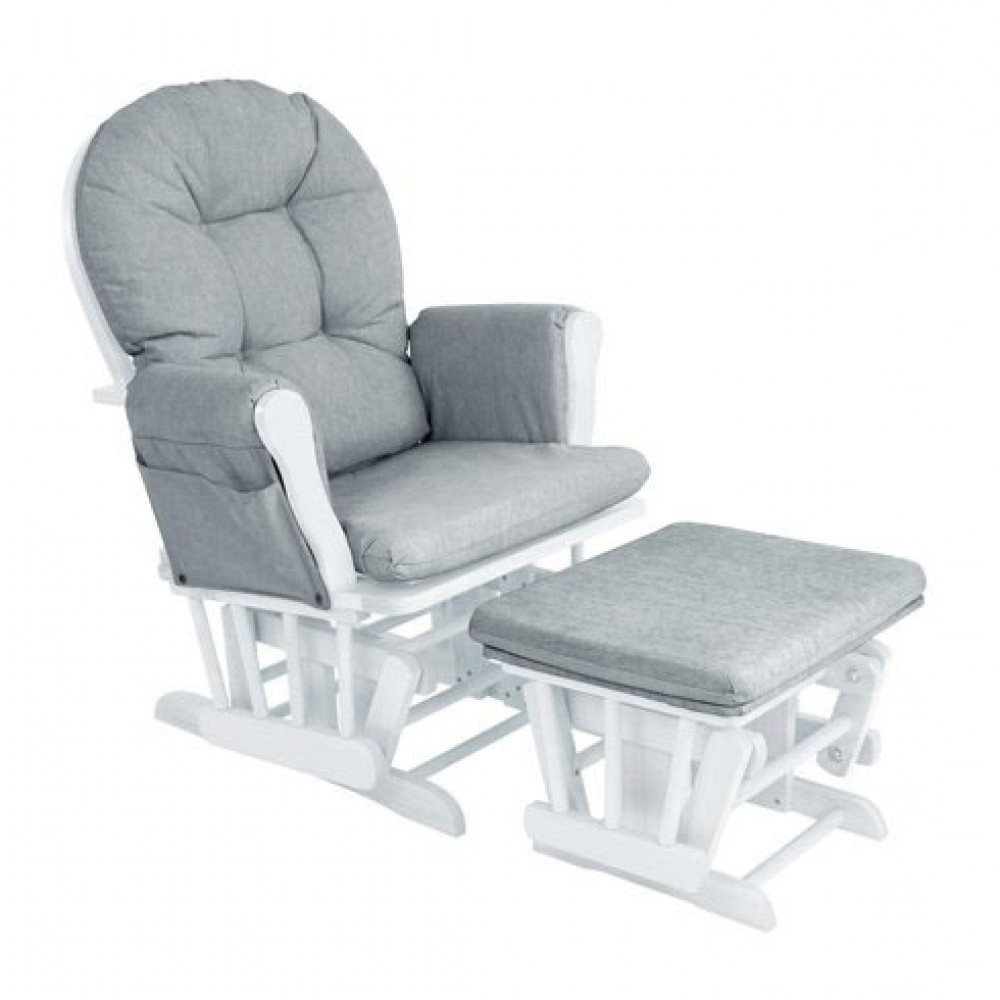 Babylo Glider Chair And Footstool White & Grey Cushion Inside Most Popular Ireland Rocking Chairs (View 5 of 20)