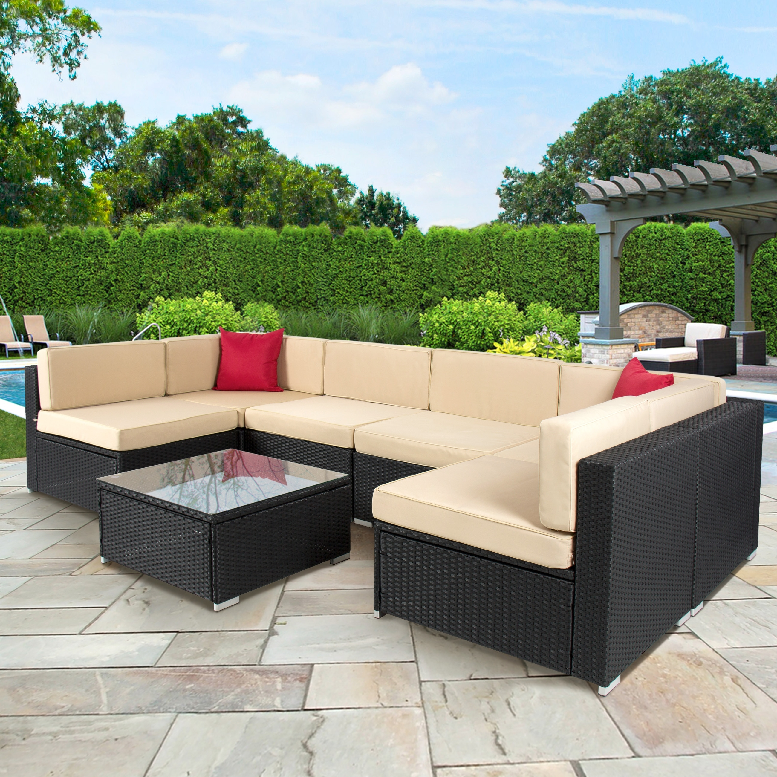 Baner Garden 4 Piece Outdoor Furniture Complete Set, Black – Walmart With Regard To Recent Patio Conversation Sets At Walmart (View 14 of 20)