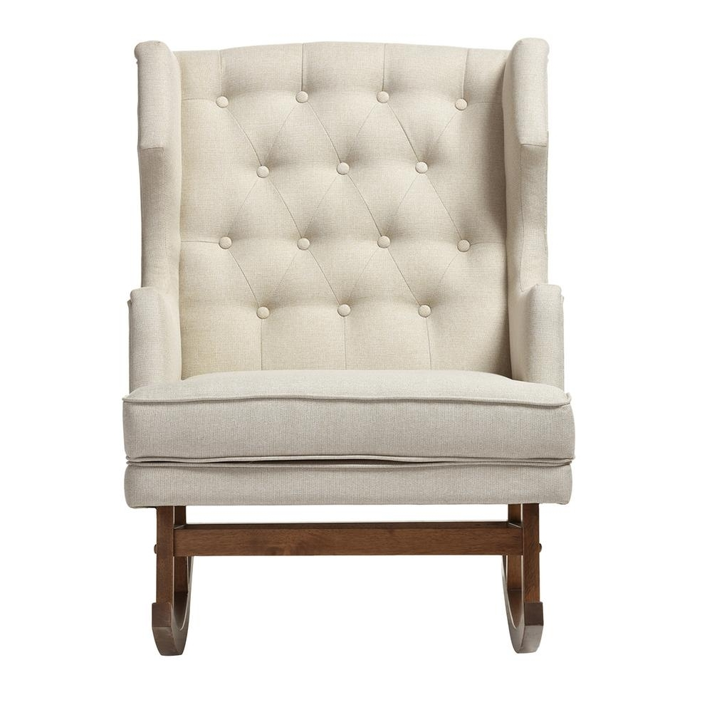 Baxton Studio Iona Mid Century Beige Fabric Upholstered Rocking Intended For Popular Upholstered Rocking Chairs (View 1 of 20)