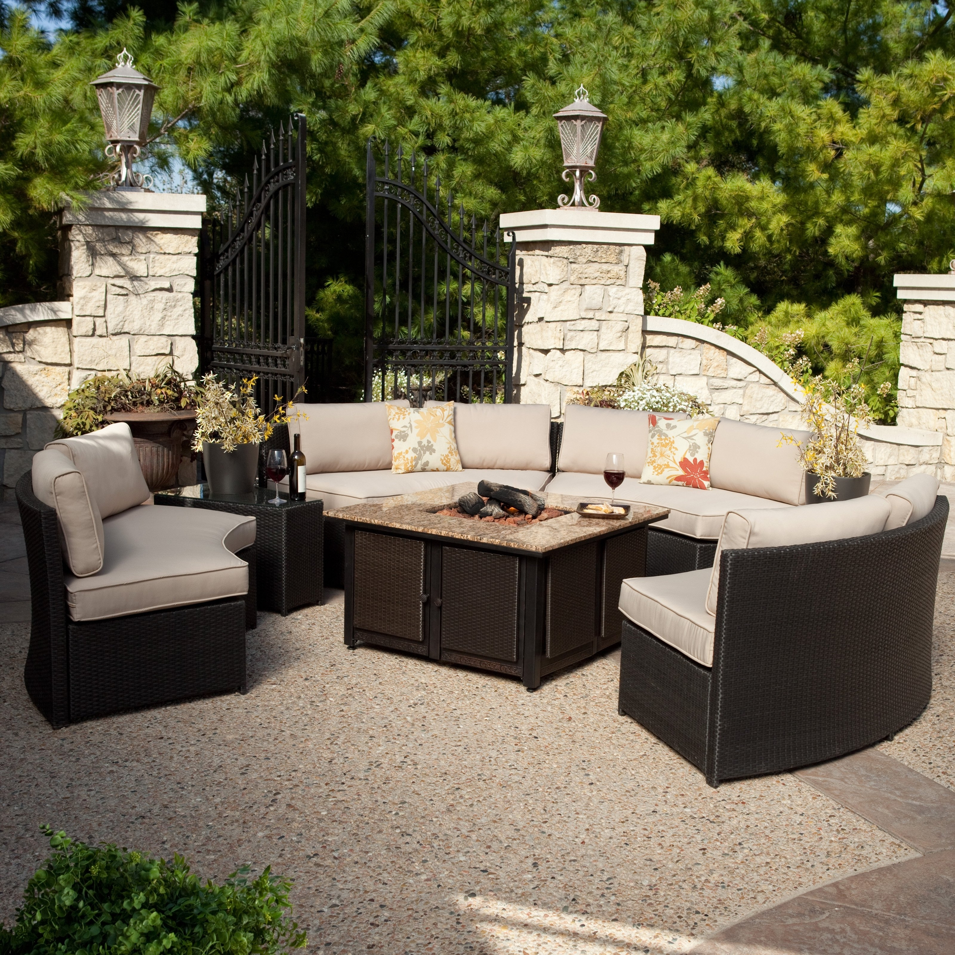 Beautiful Fire Pit Conversation Sets Patio Tall Stone Seating Around Pertaining To Recent Patio Conversation Sets With Fire Pit (View 2 of 20)