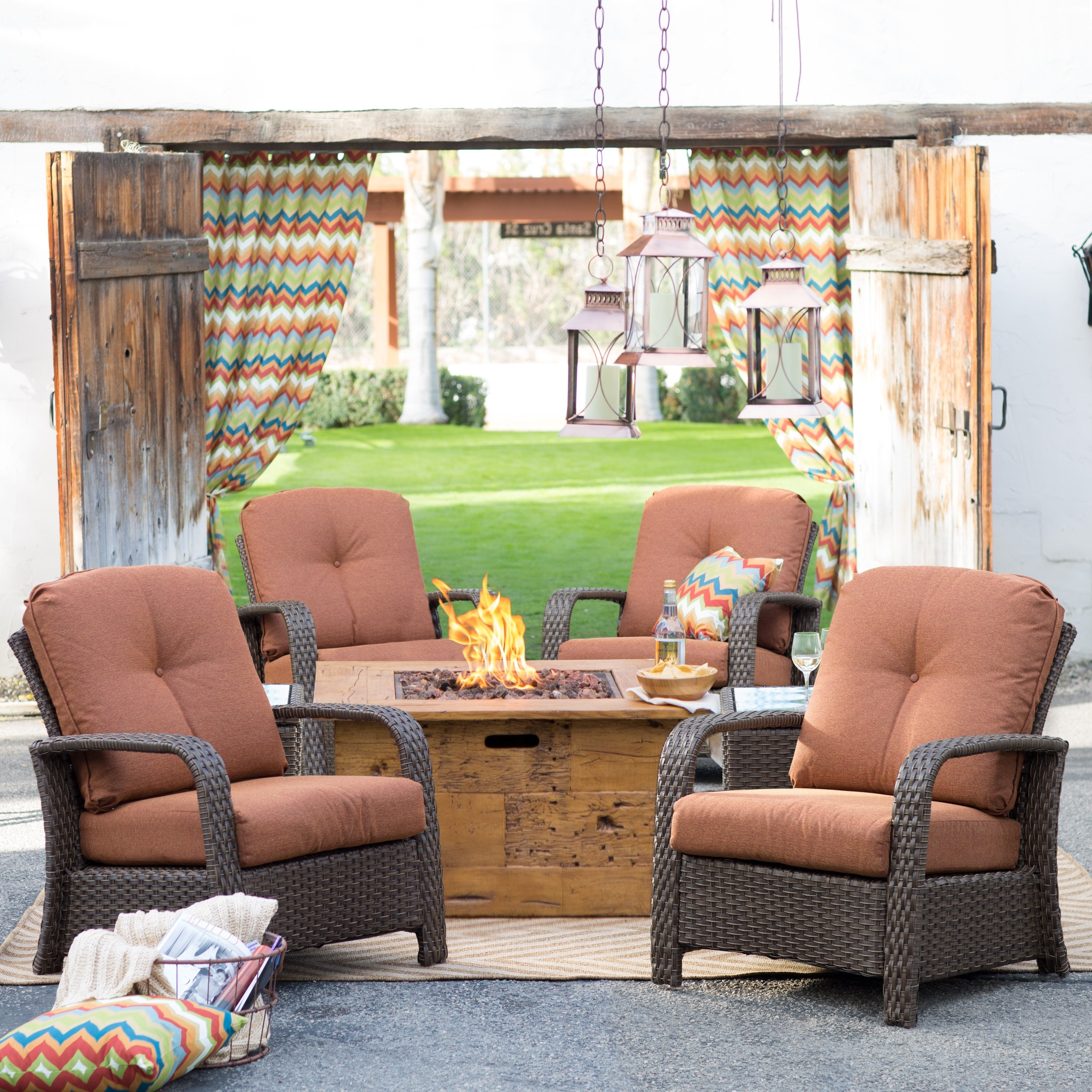 Belham Living Ariana All Weather Wicker Chat Set With Julesburg Fire Pertaining To 2018 Hayneedle Patio Conversation Sets (View 1 of 20)