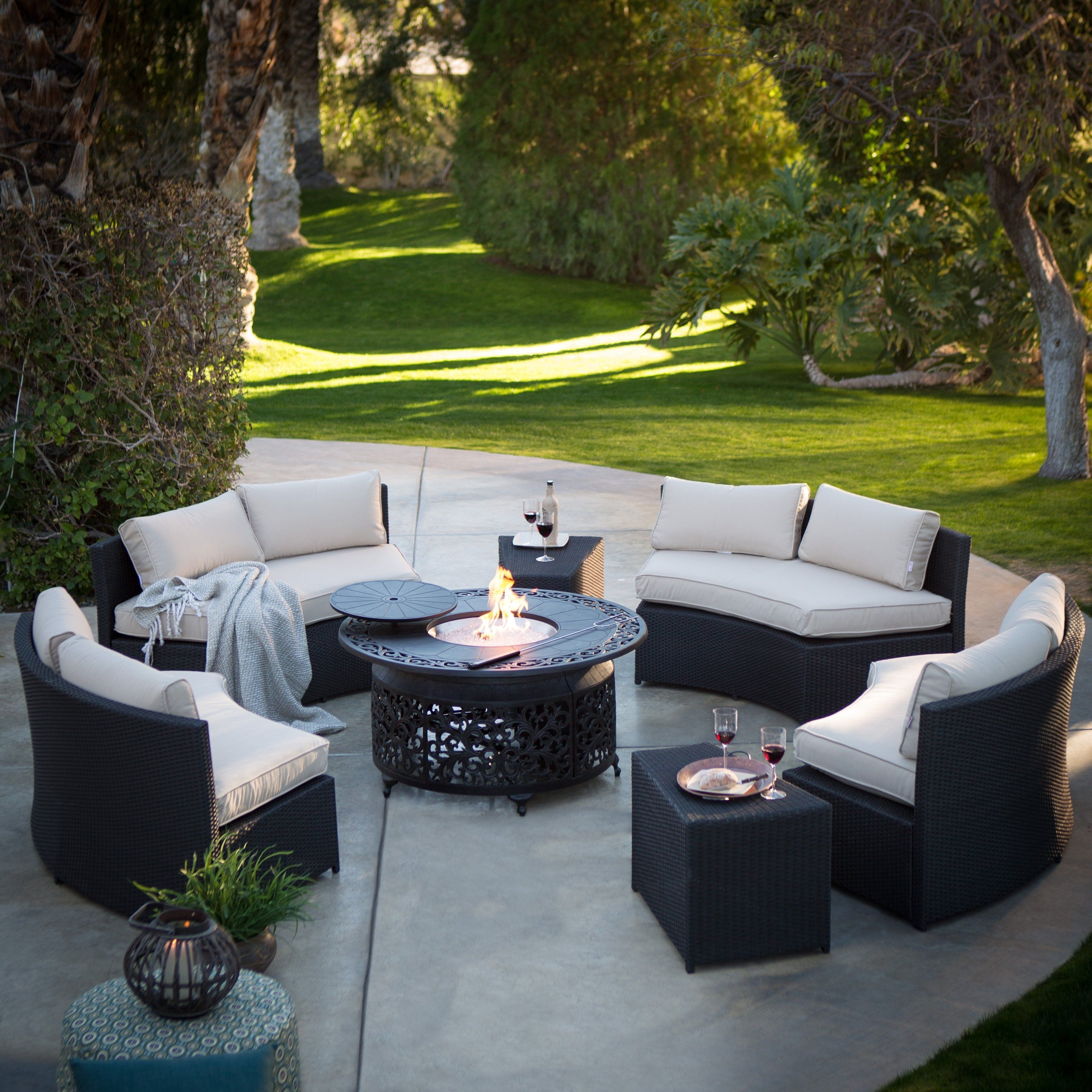 Belham Living Meridian All Weather Wicker Fire Pit Conversation Set Regarding Famous Patio Conversation Sets With Sunbrella Cushions (View 7 of 20)