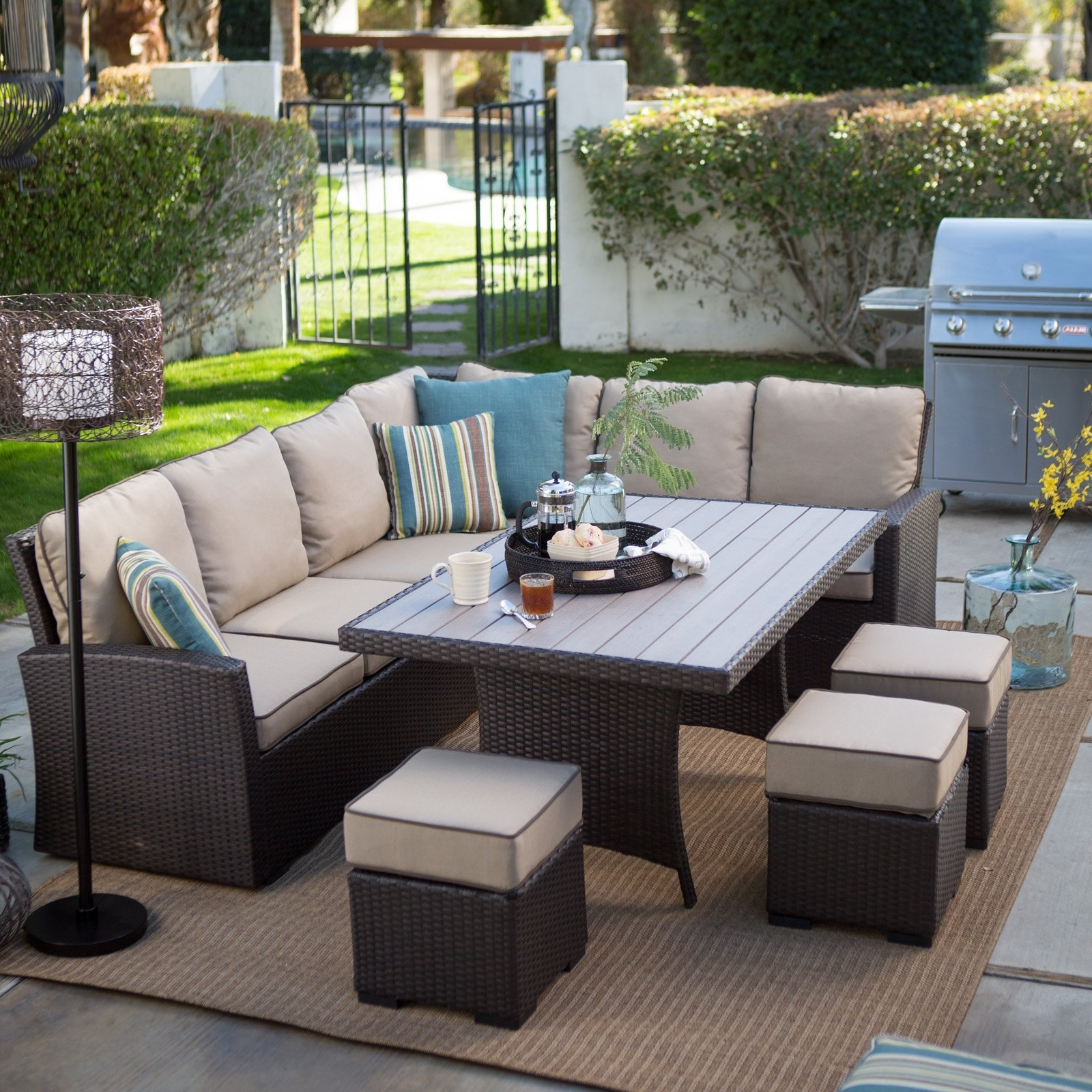 Belham Living Monticello All Weather Wicker Sofa Sectional Patio Inside 2018 Resin Conversation Patio Sets (View 14 of 20)
