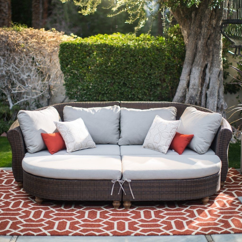 Belham Living Polanco Curved Back All Weather Wicker Sofa Sectional Intended For 2018 Conversation Patio Sets With Outdoor Sectionals (View 17 of 20)