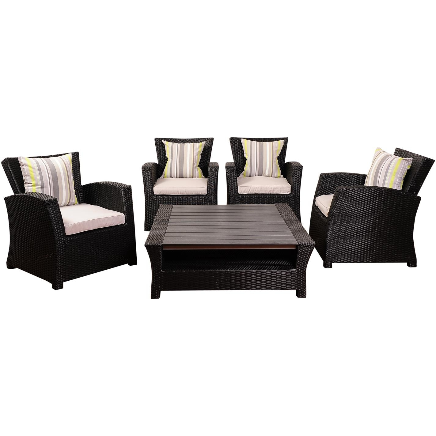 Best And Newest Black Patio Conversation Sets In Atlantic Staffordshire 4 Person Resin Wicker Patio Conversation Set (View 4 of 20)