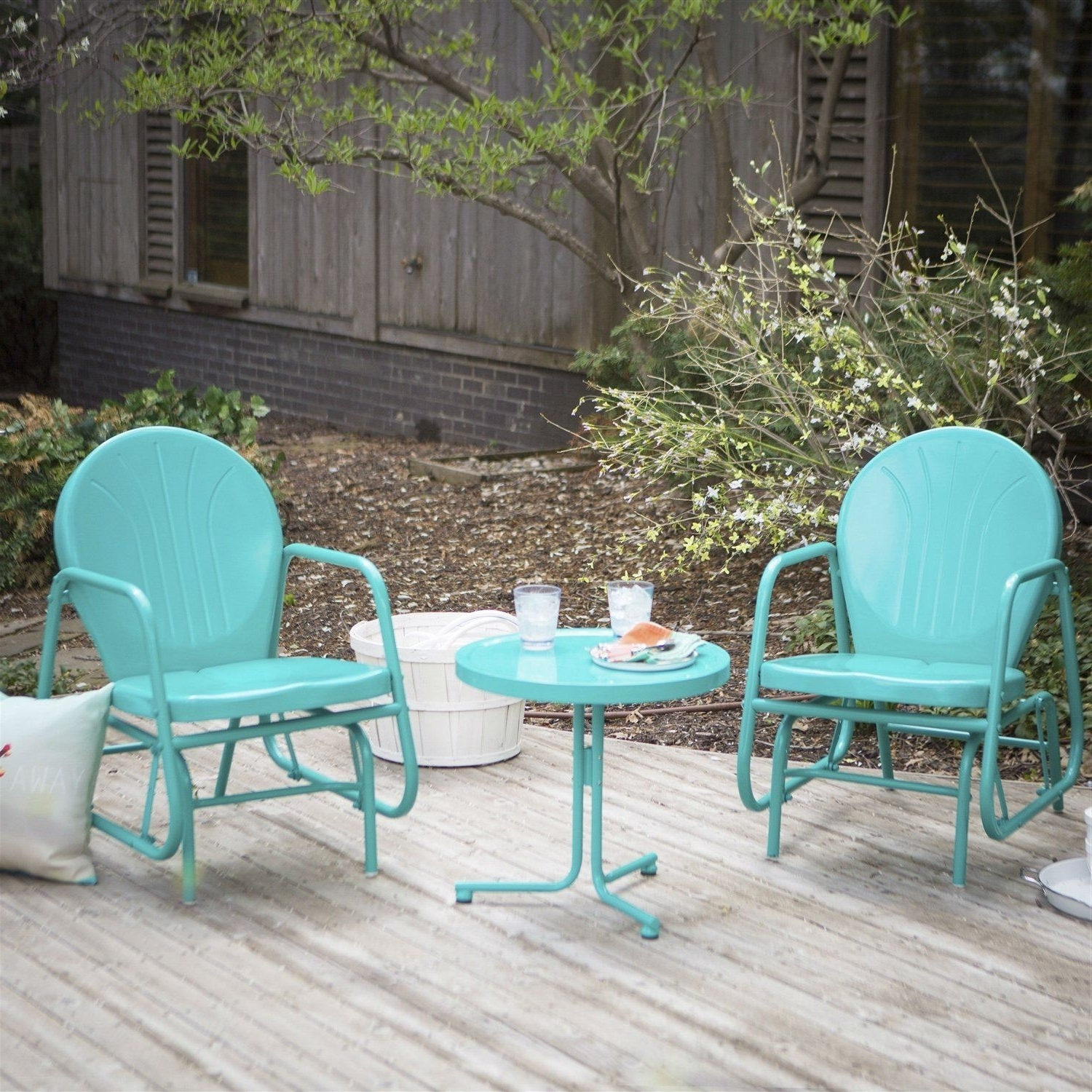 Best And Newest Outdoor 3 Piece Retro Turquoise Blue Patio Furniture Glider Chair Within Patio Conversation Sets With Glider (View 3 of 20)