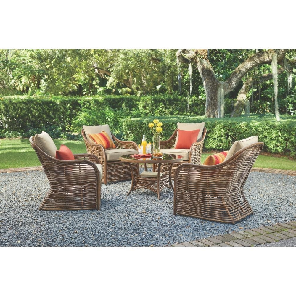 Best And Newest Patio Conversation Sets At Home Depot Throughout Home Decorators Collection Port Elizabeth 5 Piece All Weathered (View 4 of 20)
