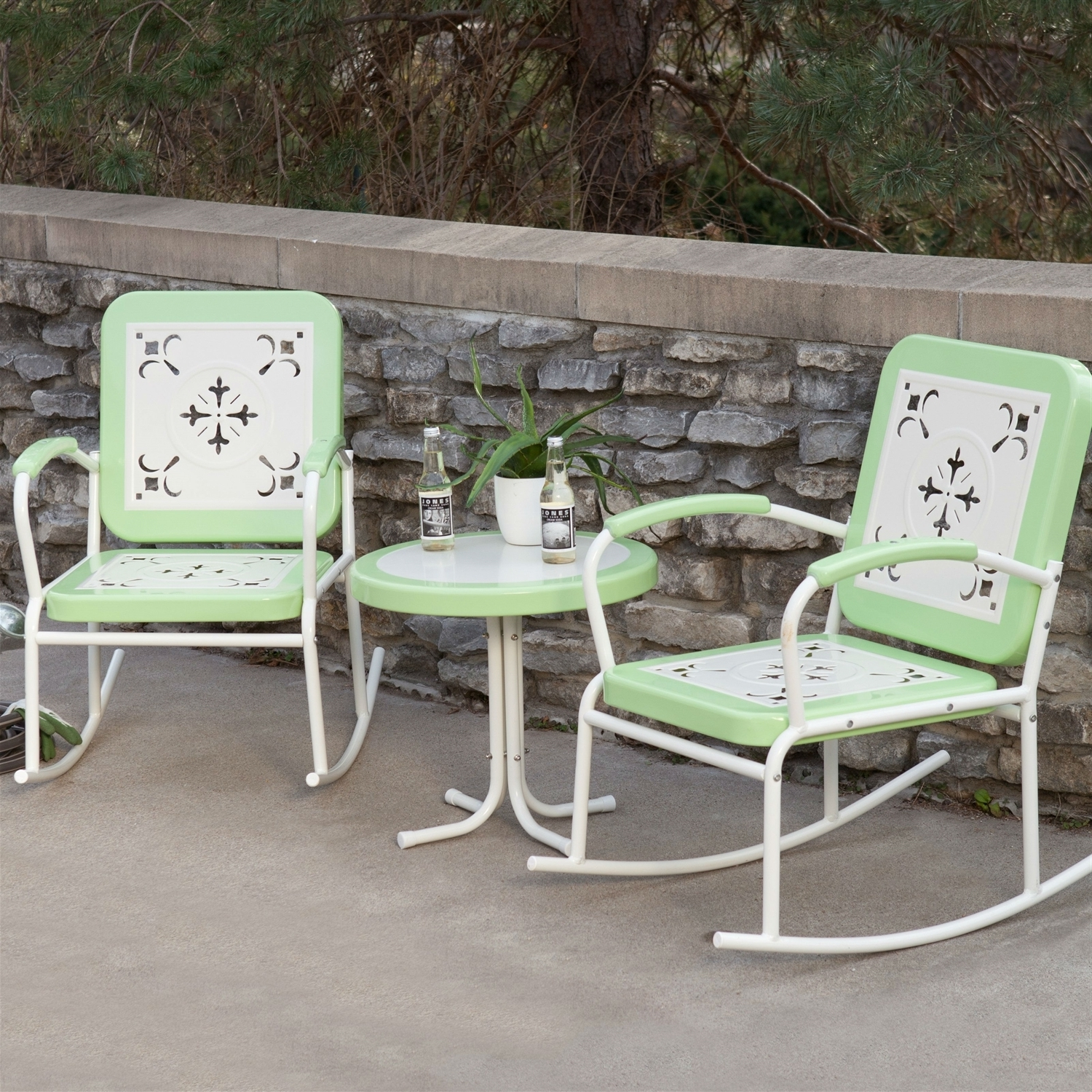 Best And Newest Patio Metal Rocking Chairs Within Mint Green Retro Patio 3 Pc (View 2 of 20)