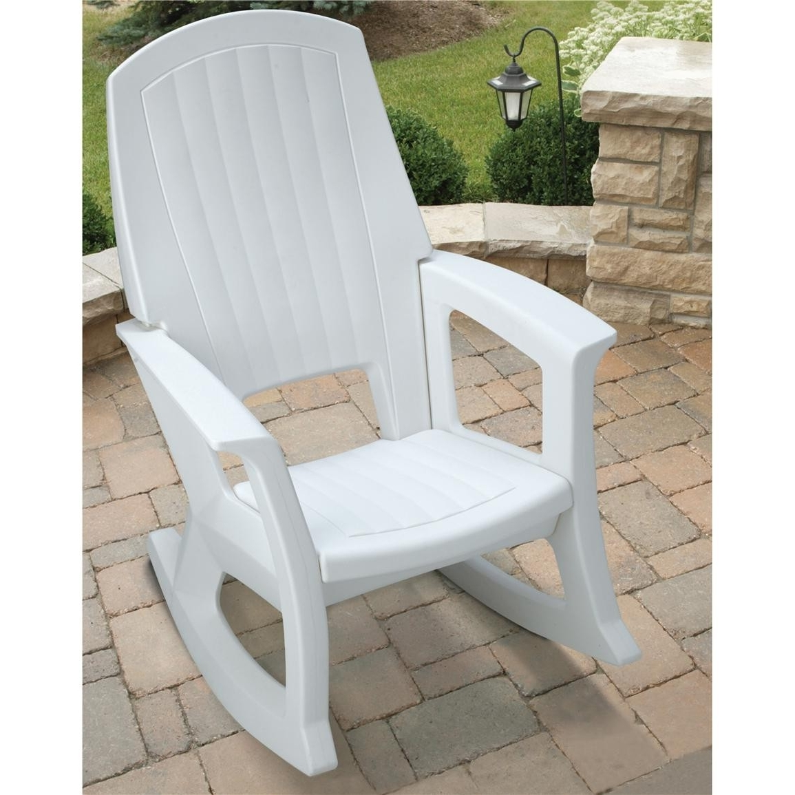 Best And Newest Semco Plastics White Resin Outdoor Patio Rocking Chair Semw Rural Within Vinyl