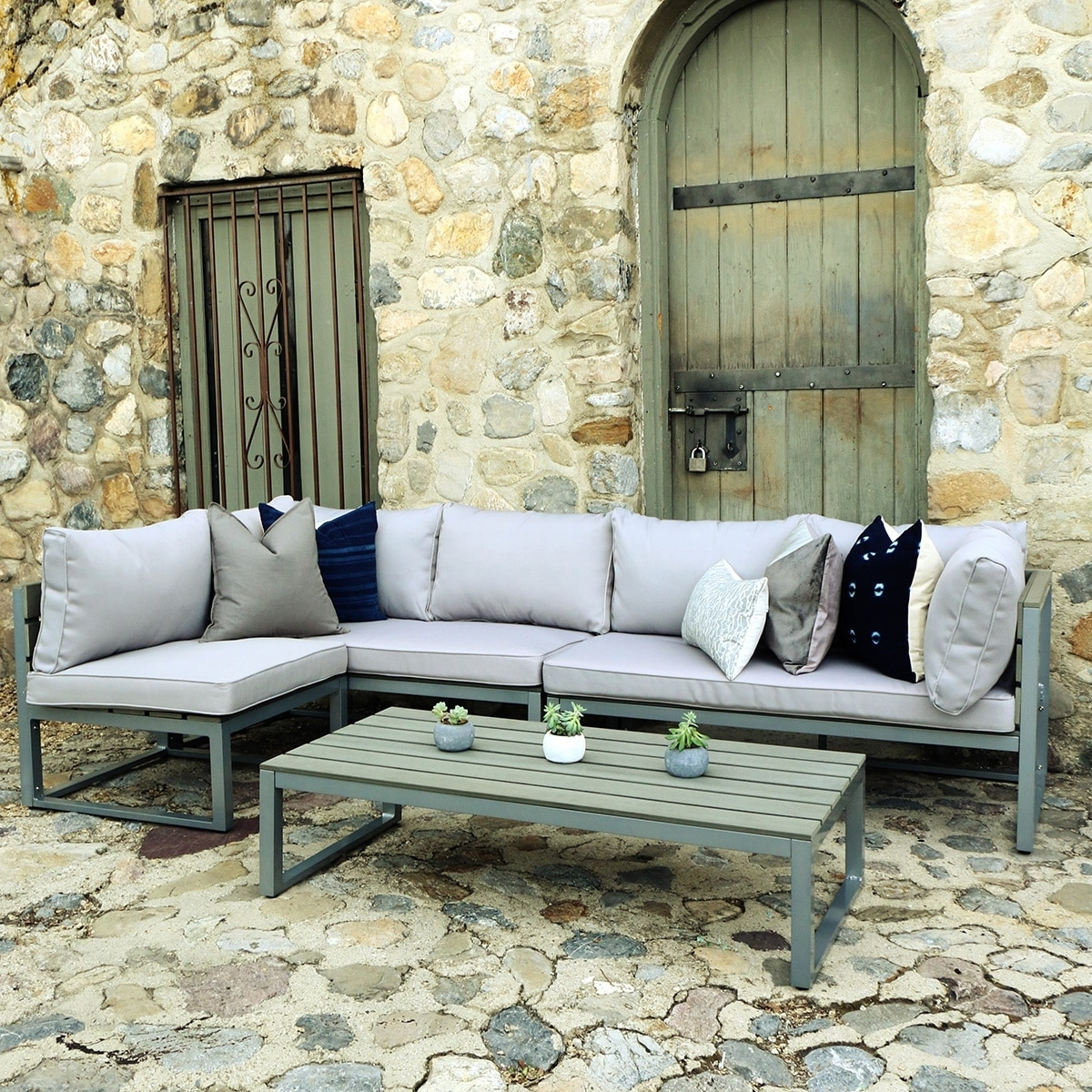 Best And Newest Shop Carbon Loft Ostriker All Weather Grey 4 Piece Patio Within Grey Patio Conversation Sets (View 10 of 20)