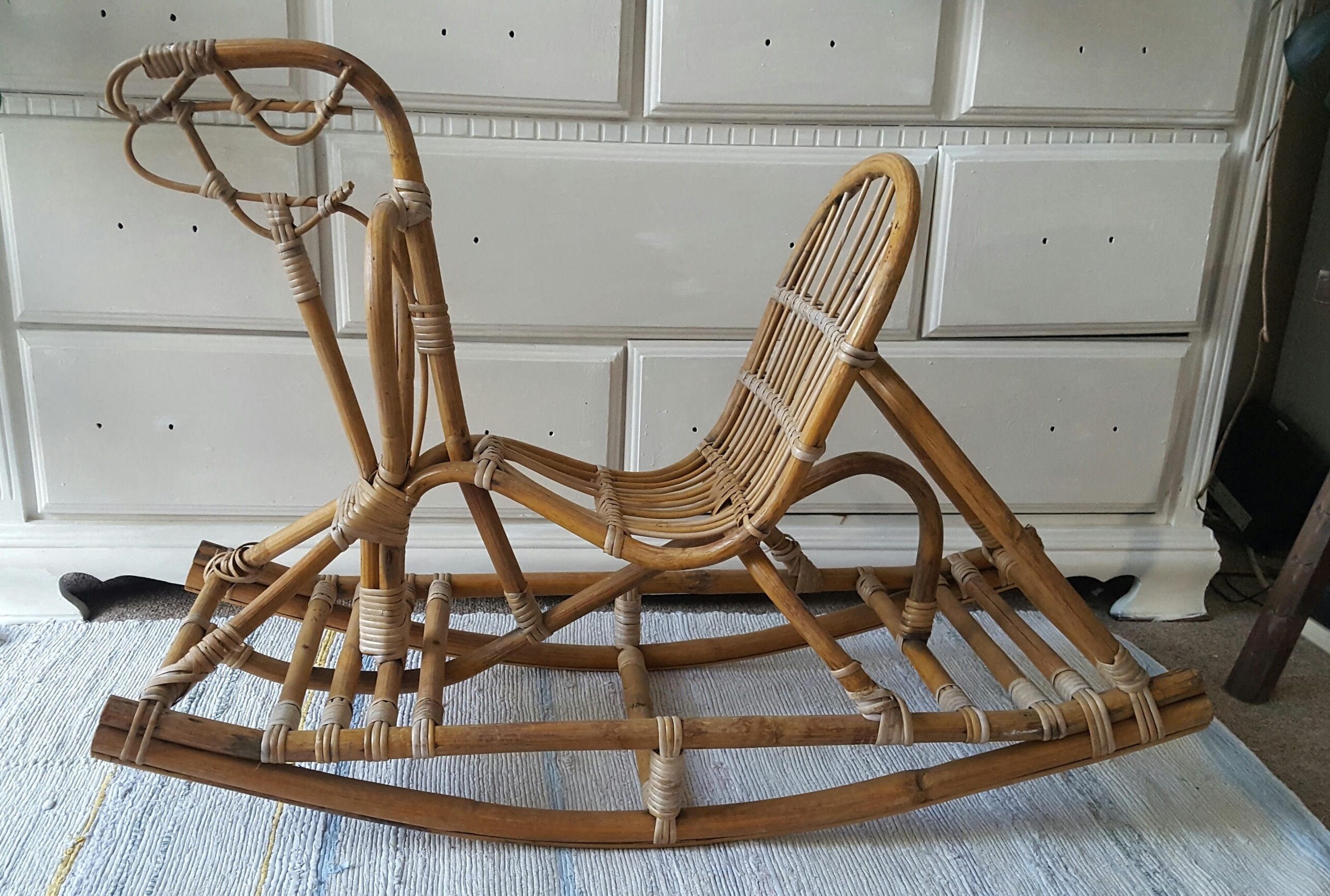 Best And Newest Sold Midcentury Modern Danish Rattan Cane Rocking Horse With Wicker Rocking Chair With Magazine Holder (View 2 of 20)