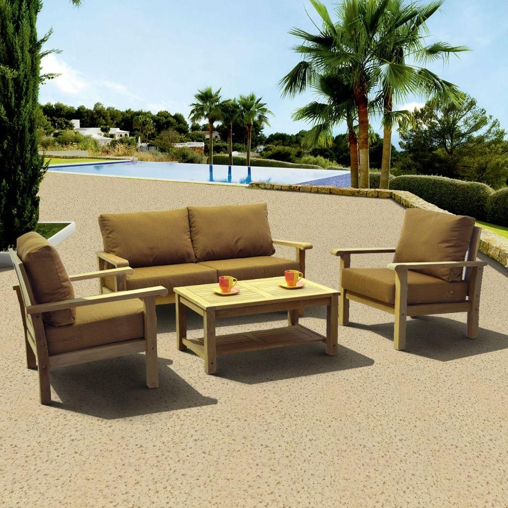 Best And Newest Teak – Patio Conversation Sets – Outdoor Lounge Furniture – The Home Inside Patio Conversation Sets With Sunbrella Cushions (View 14 of 20)
