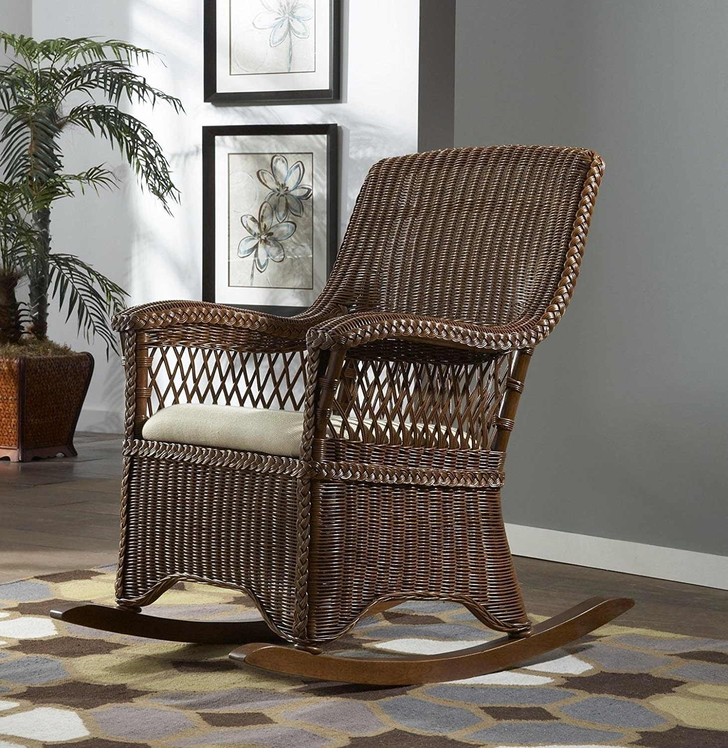 Best And Newest Wicker Indoor Rocking Chair With Cushion Baby Chairs For Nursery Inside Indoor Wicker Rocking Chairs (View 4 of 20)