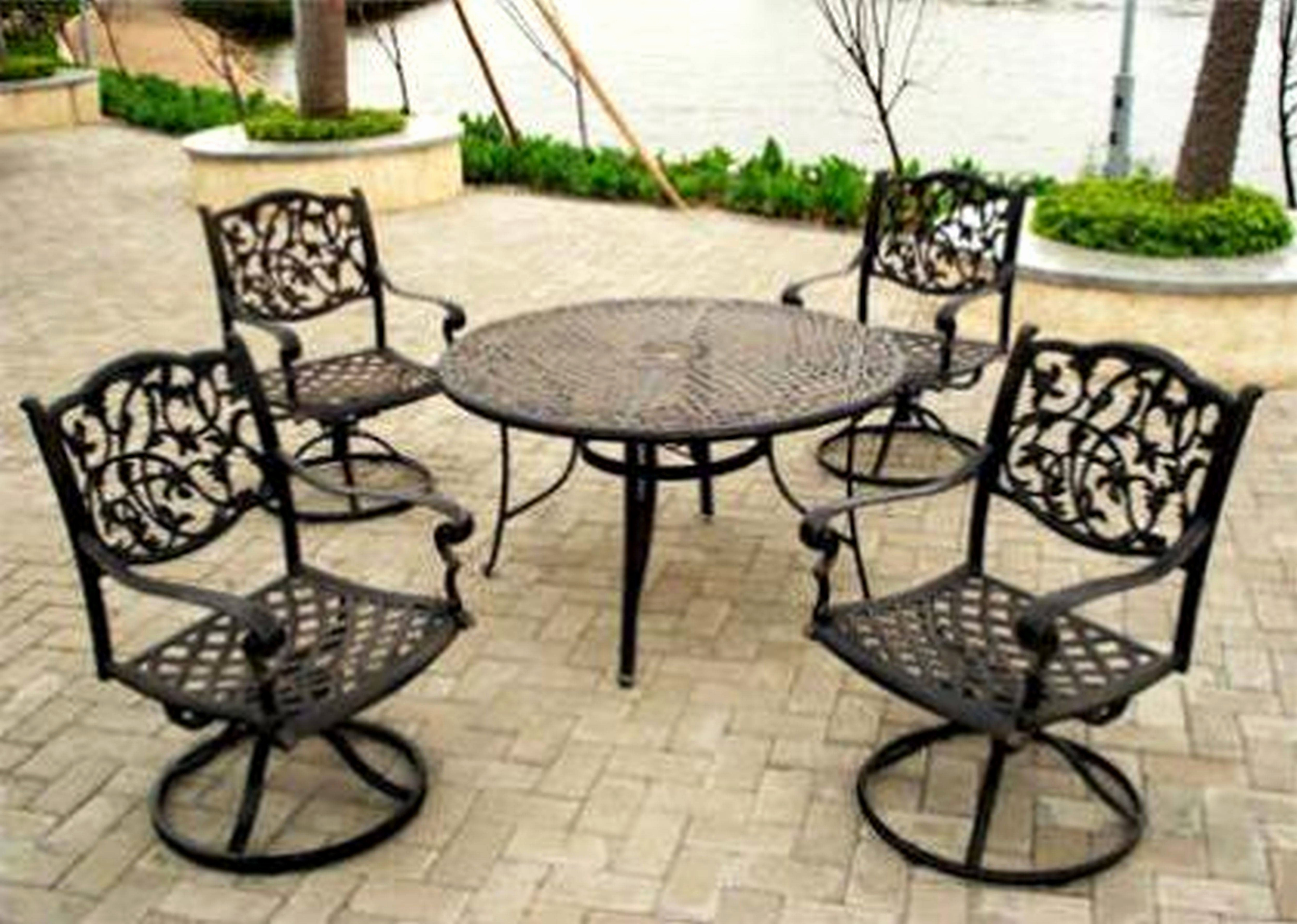 Best And Newest Wrought Iron Patio Rocking Chairs With Regard To 30 Top Wrought Iron Patio Dining Furniture Concept – Benestuff (View 14 of 20)