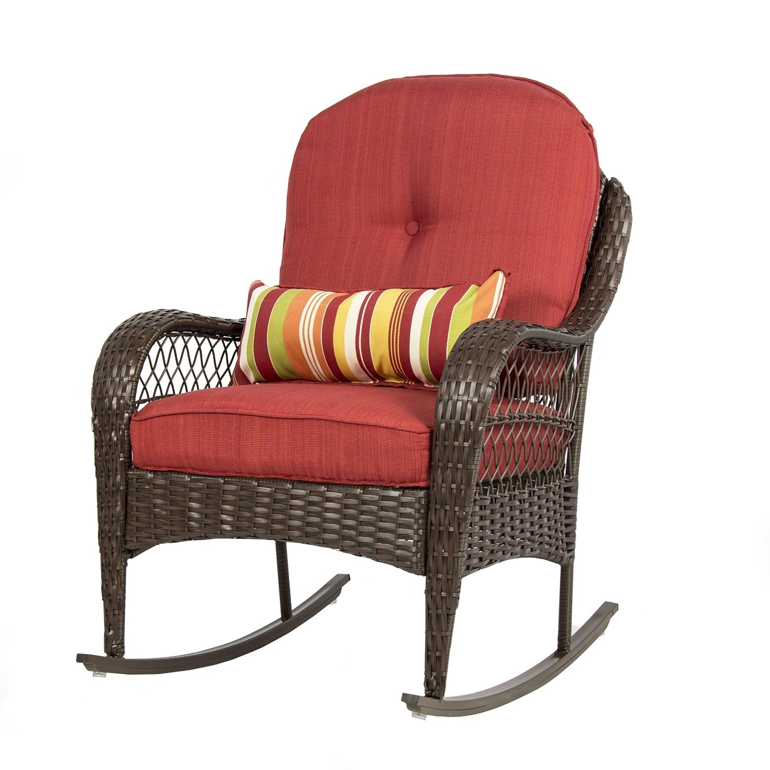 Best Choice Products Wicker Rocking Chair Within Famous Outdoor Wicker Rocking Chairs With Cushions (View 1 of 20)