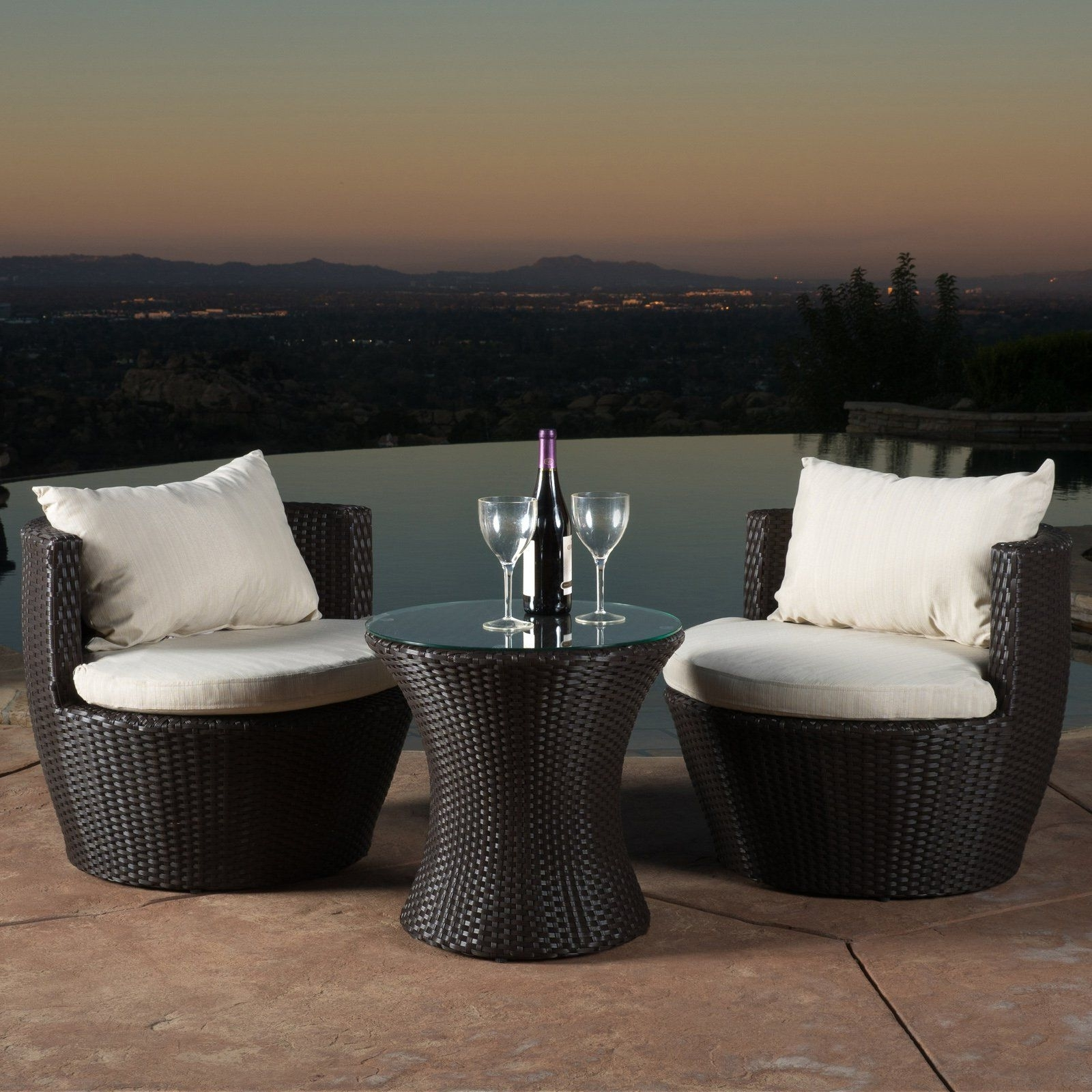 Best Selling Home Decor Furniture Angelina Wicker 3 Piece Patio Intended For Most Current 3 Piece Patio Conversation Sets (View 6 of 20)