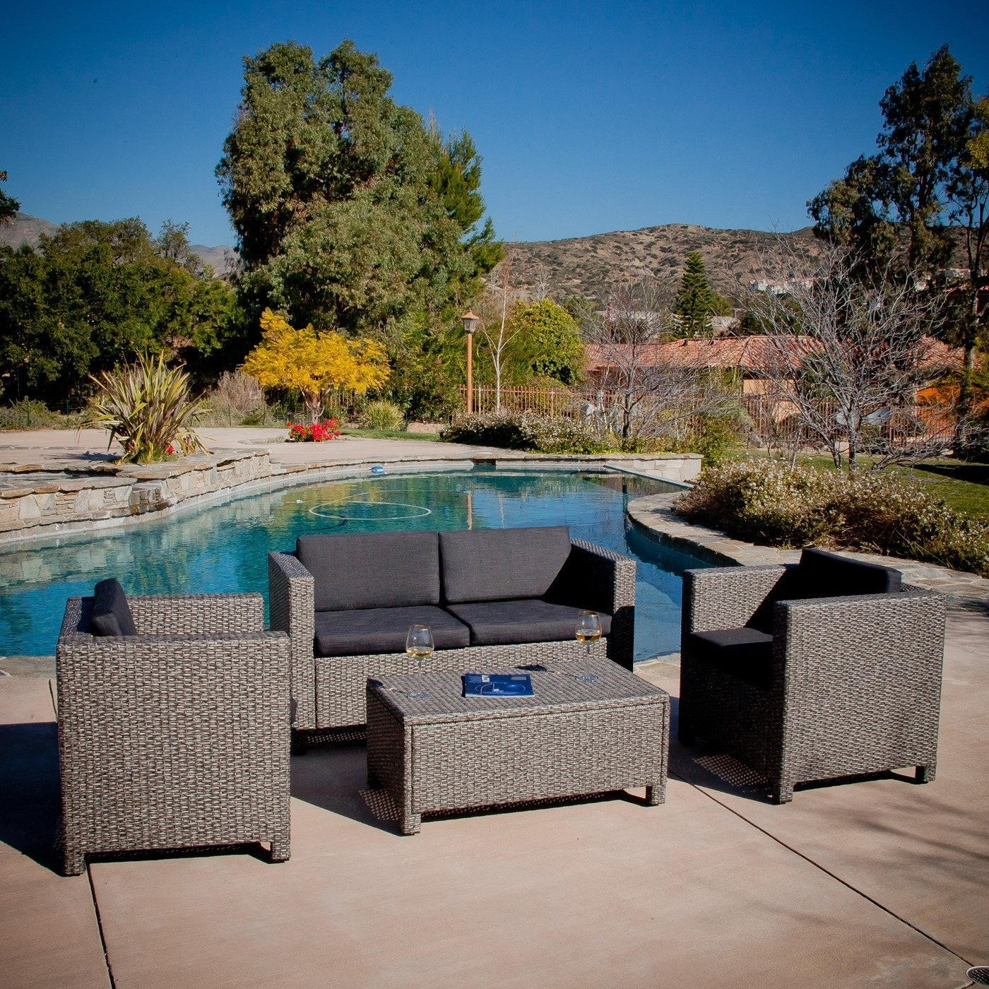 Best Selling Home Decor Puerta Grey Outdoor Wicker Sofa Set (View 17 of 20)