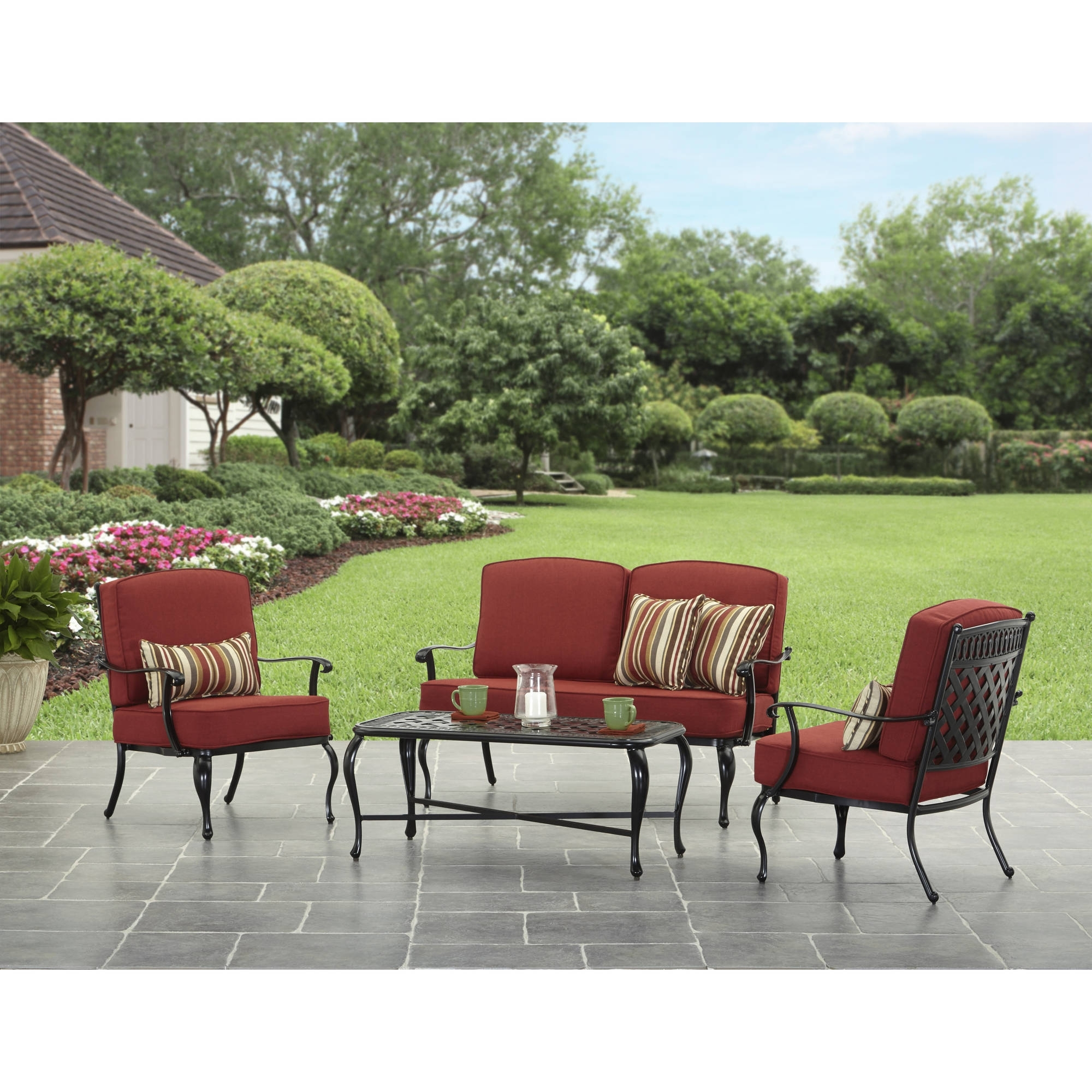 Better Homes And Garden Dawn Hill 4 Piece Outdoor Conversation Set With Regard To Newest Dot Patio Conversation Sets (View 7 of 20)