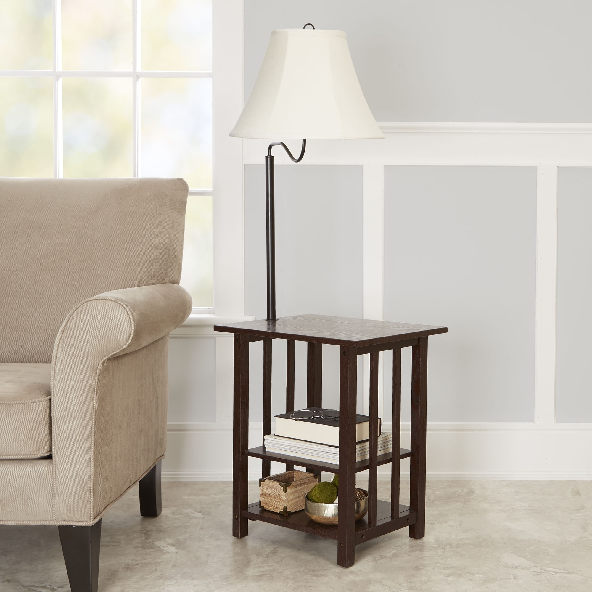 Better Homes & Gardens 3 Rack End Table Floor Lamp, Espresso Finish Intended For Latest Walmart Living Room Table Lamps (View 2 of 20)