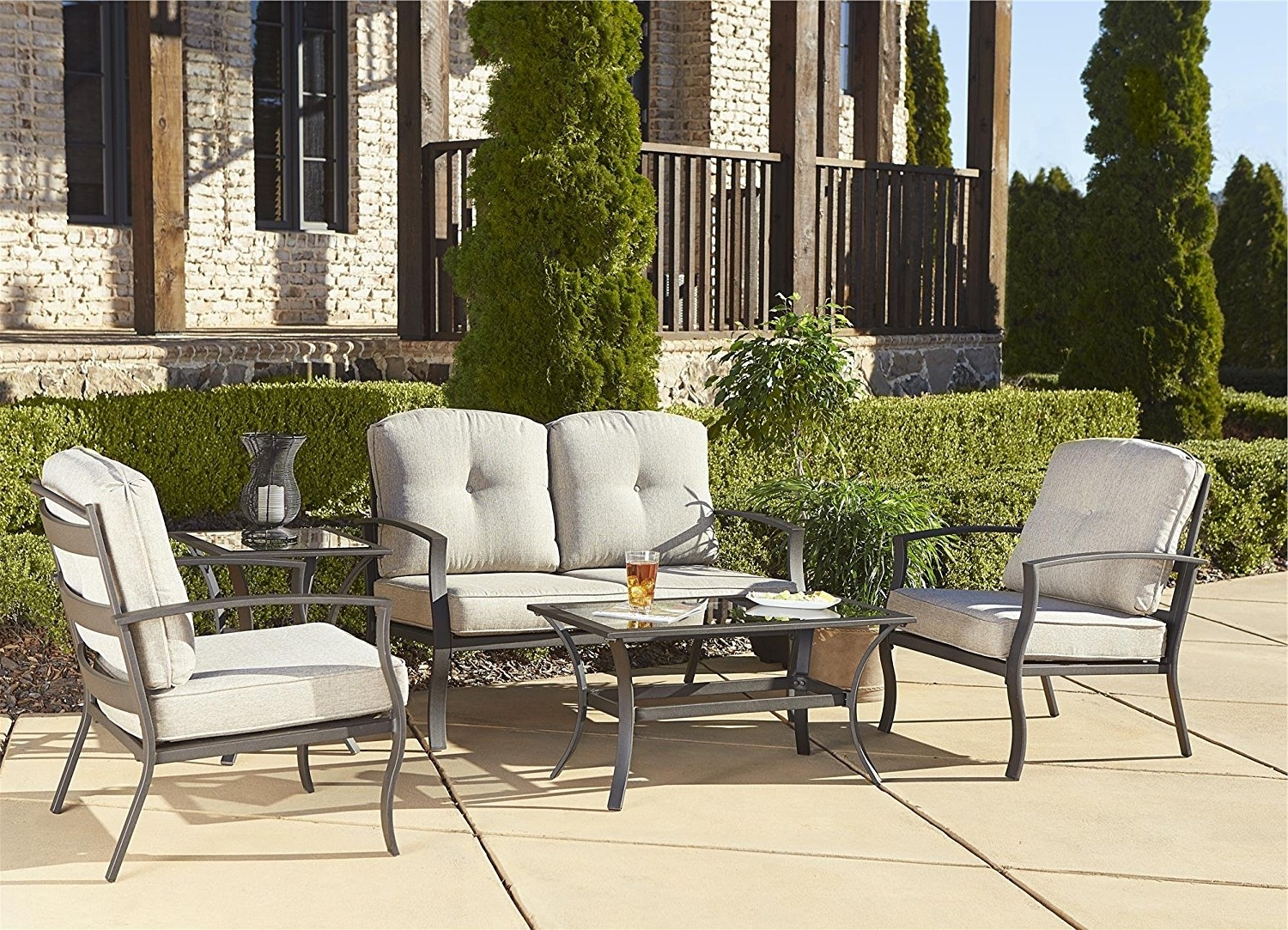 Big Lots Patio Furniture Target Patio Furniture Gas Fire Pit Chat Throughout Most Popular Patio Conversation Sets At Target (View 3 of 20)