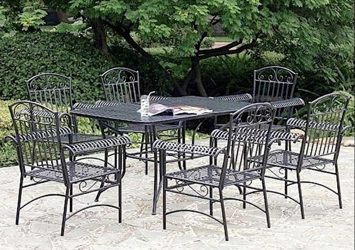 Black Aluminum Patio Conversation Sets Inside Fashionable Outstanding Patio Furniture Metal 12 Lawn Garden Fascinating Vintage (View 3 of 20)