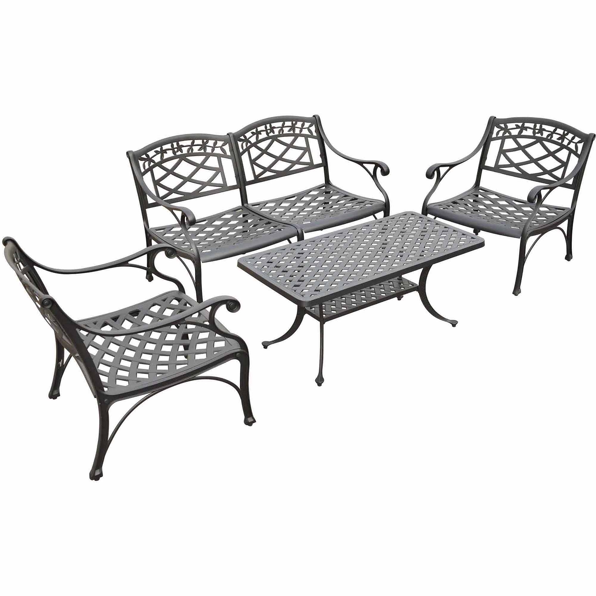 Black Aluminum Patio Conversation Sets Within Best And Newest Crosley Furniture Sedona 4 Piece Cast Aluminum Outdoor Conversation (View 5 of 20)