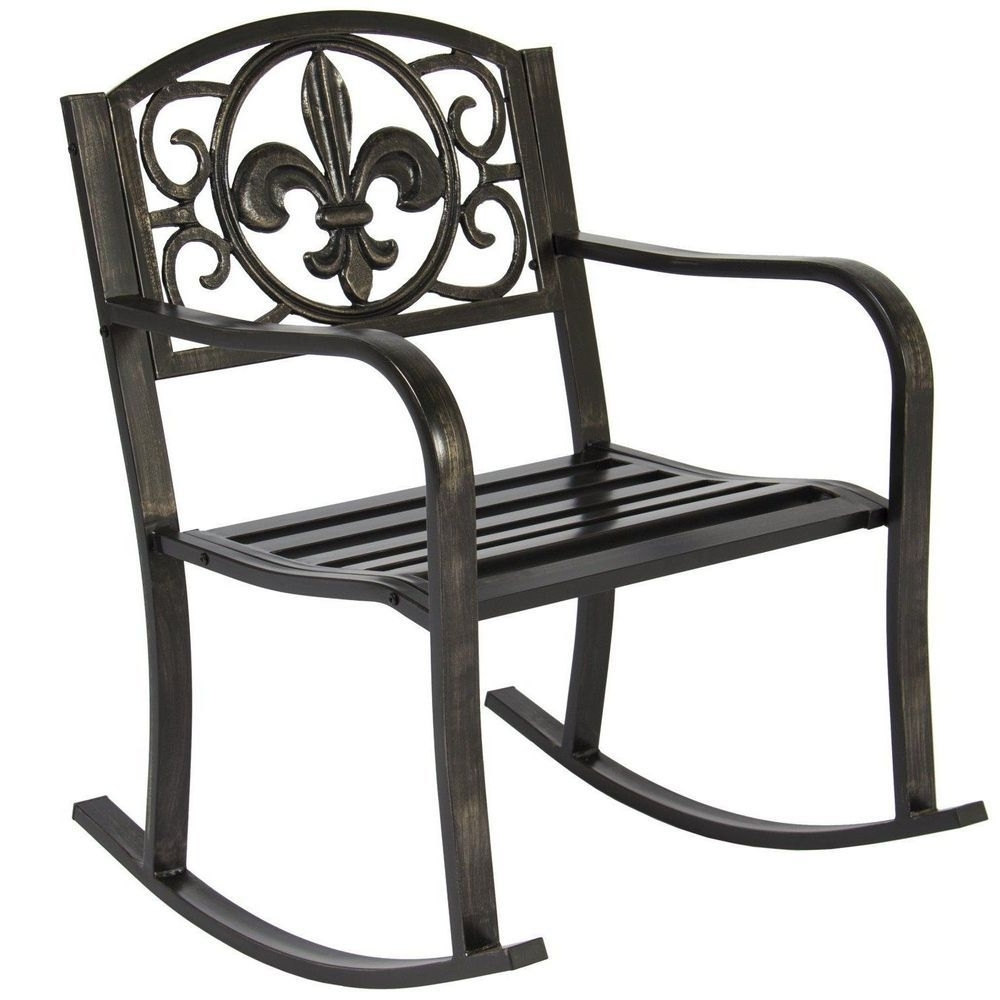Black Metal Rocking Chair Deck Porch Patio Seat Outdoor Glider Intended For Well Known Outdoor Patio Metal Rocking Chairs (View 4 of 20)
