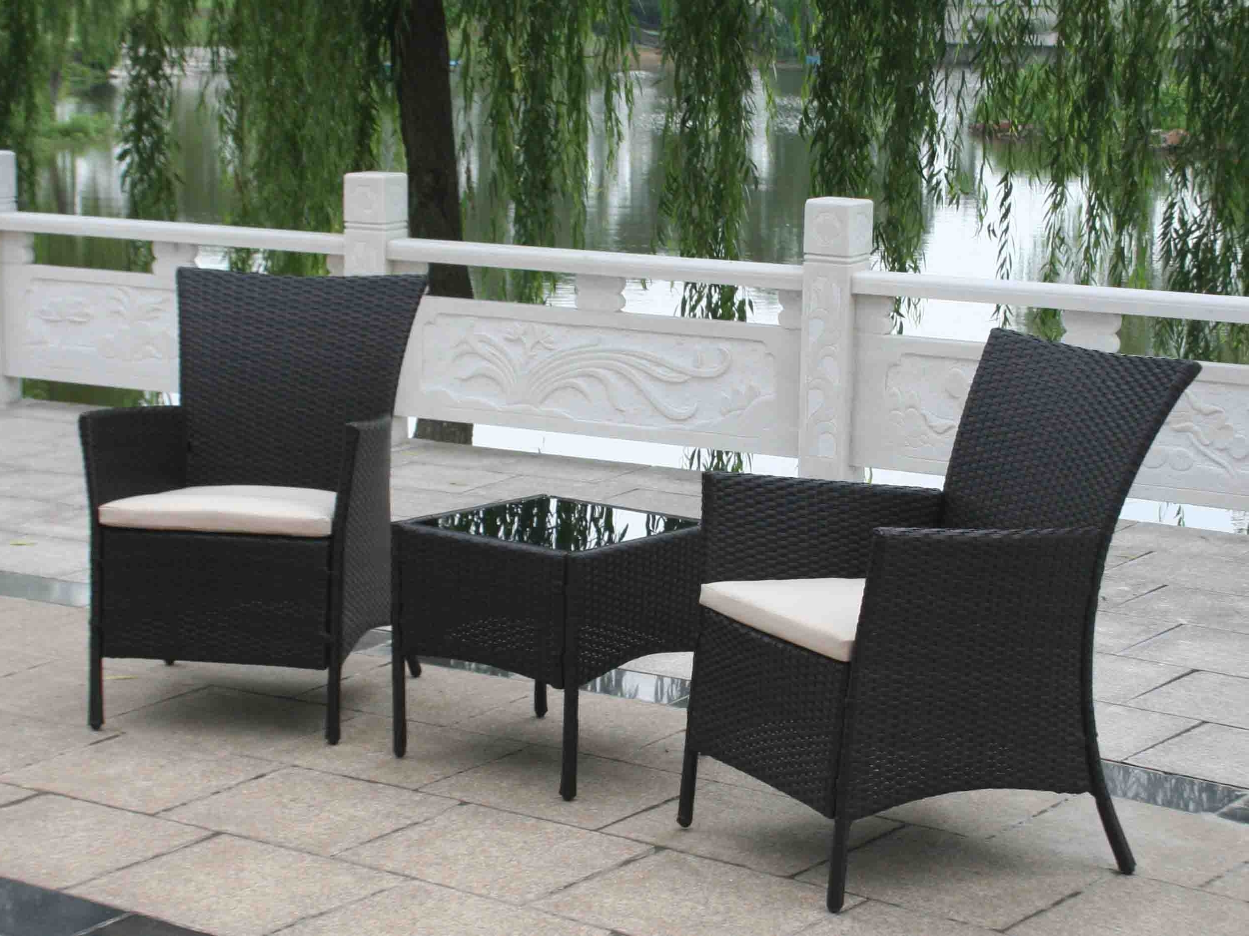 Black Patio Conversation Sets Within Newest Patio : Black Wicker Patio Furniture Black Wicker Patio Furniture (View 7 of 20)