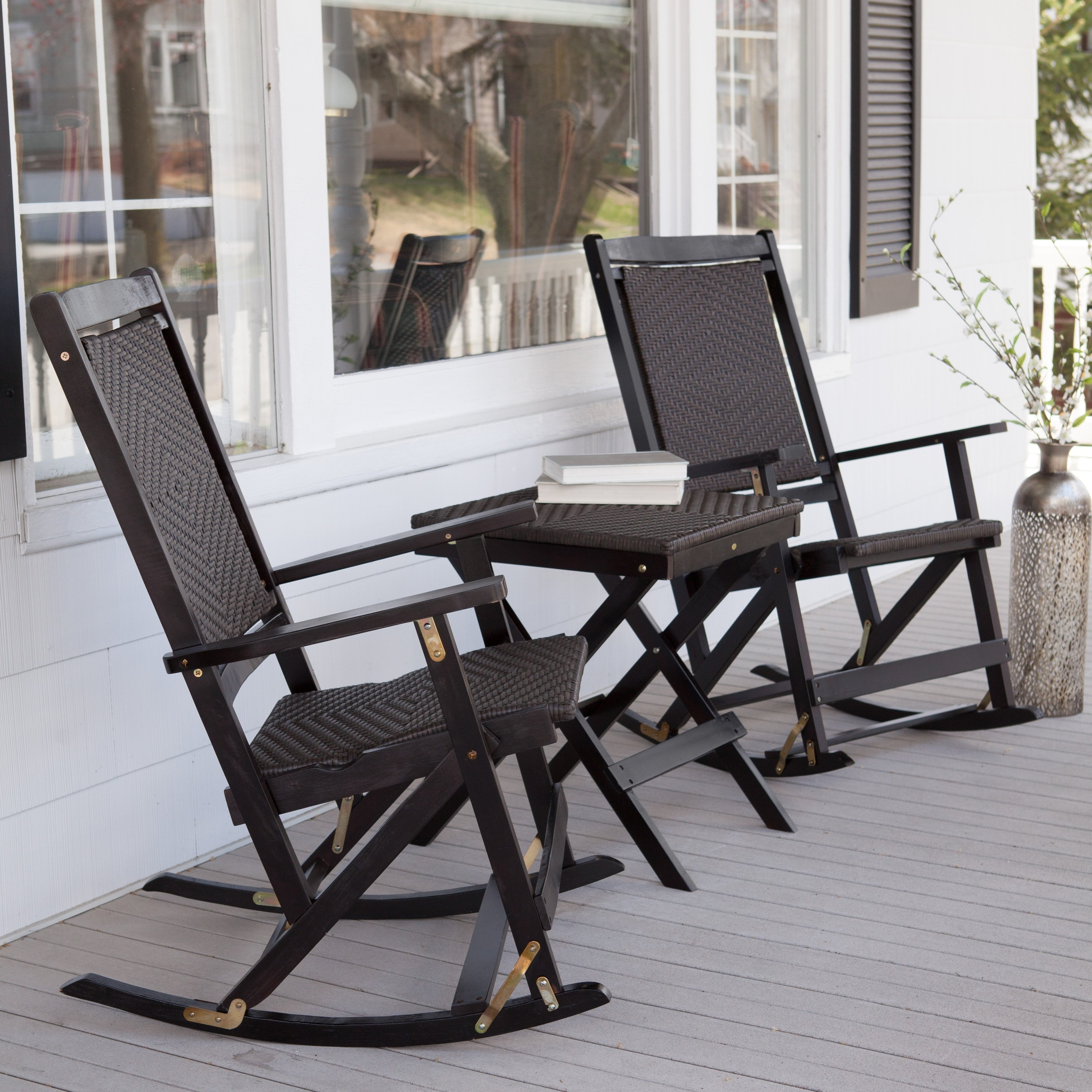 Black Patio Rocking Chairs With Most Up To Date Black Wicker Rocking Chair With Black Stained Wooden Based Combined (View 11 of 20)