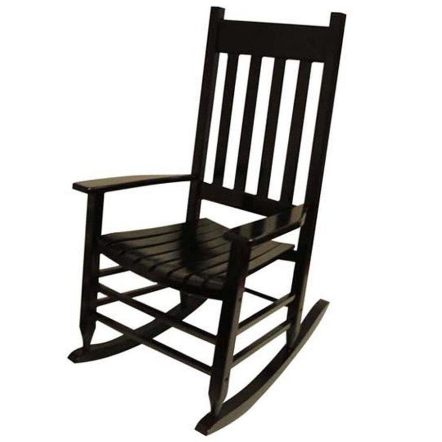 Black Rocking Chairs Regarding Well Known Shop Garden Treasures Acacia Rocking Chair With Slat Seat At Lowes (View 3 of 20)