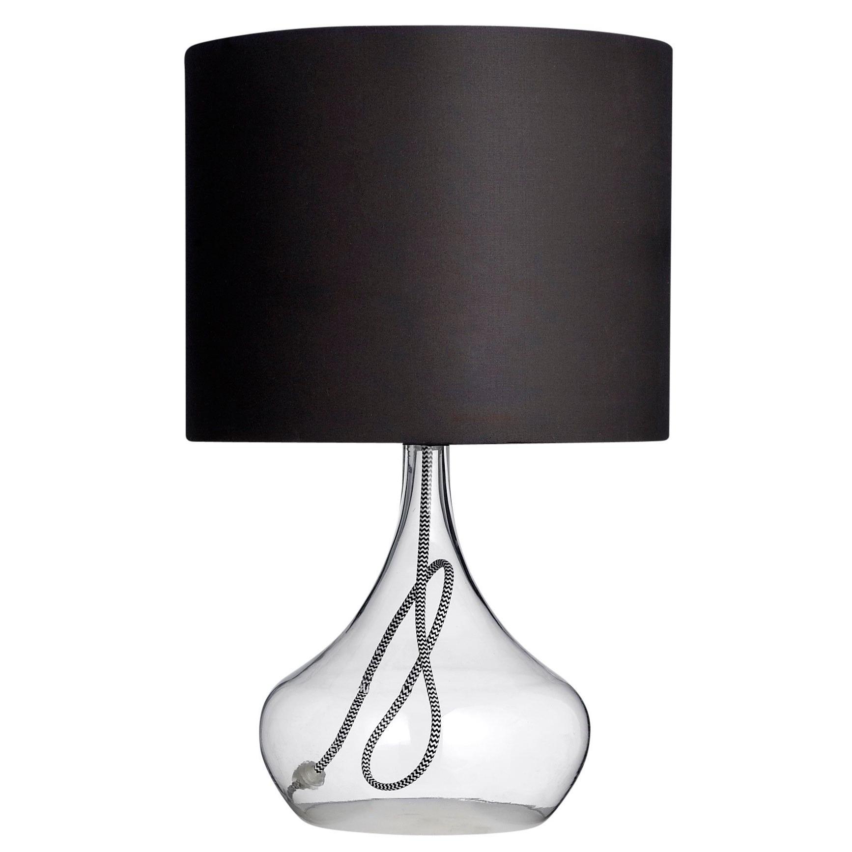 Bloomingville Glazen Tafellamp Core Met Zwarte Stoffen Kap (View 4 of 20)