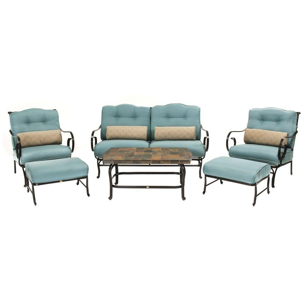 Blue Patio Conversation Sets With Fashionable Hanover Oceana 6 Piece Patio Lounge Seating Set With Nepal Blue (View 7 of 20)