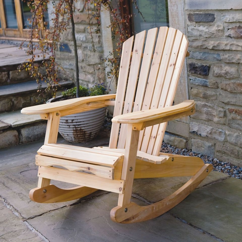 Bowland Outdoor Garden Patio Wooden Adirondack Rocker Rocking Chair Intended For 2019 Rocking Chair Outdoor Wooden (View 2 of 20)