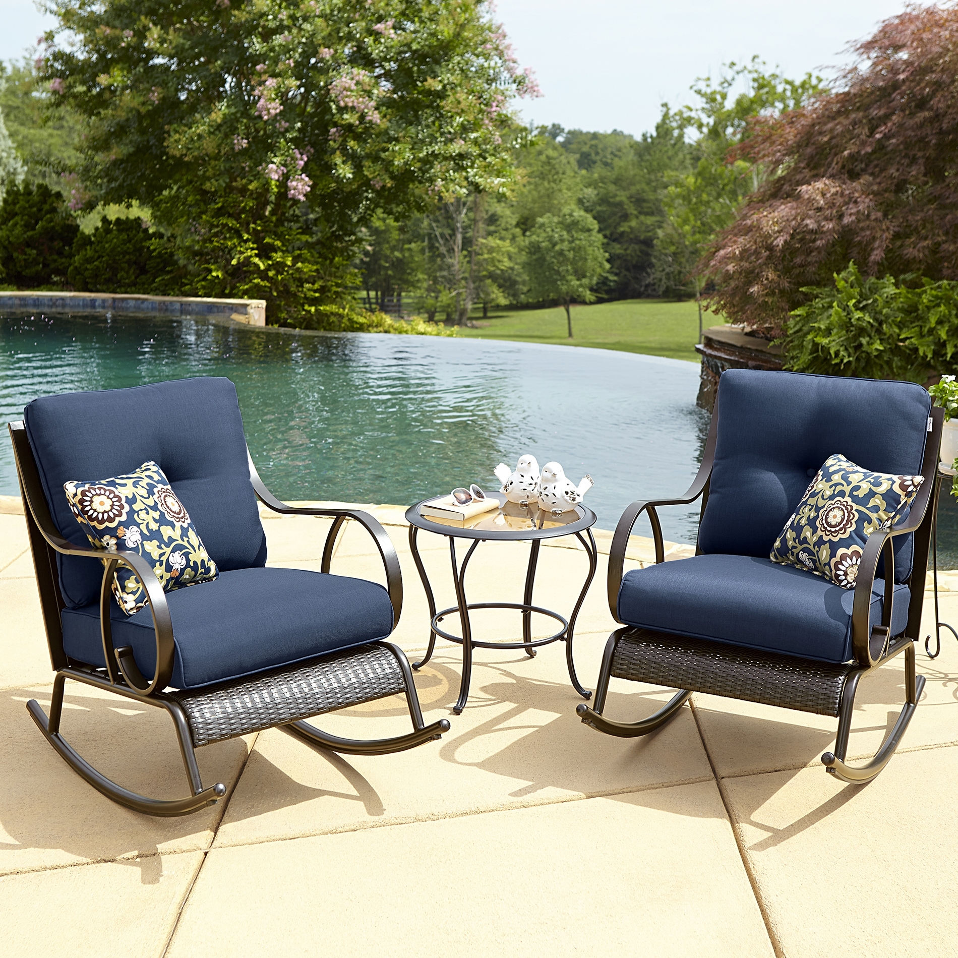 Boy Outdoor Avery Piece Bistro Rocking Chair Set Blue Kmart Prod Intended For Best And Newest Outdoor Rocking Chairs With Table (View 9 of 20)