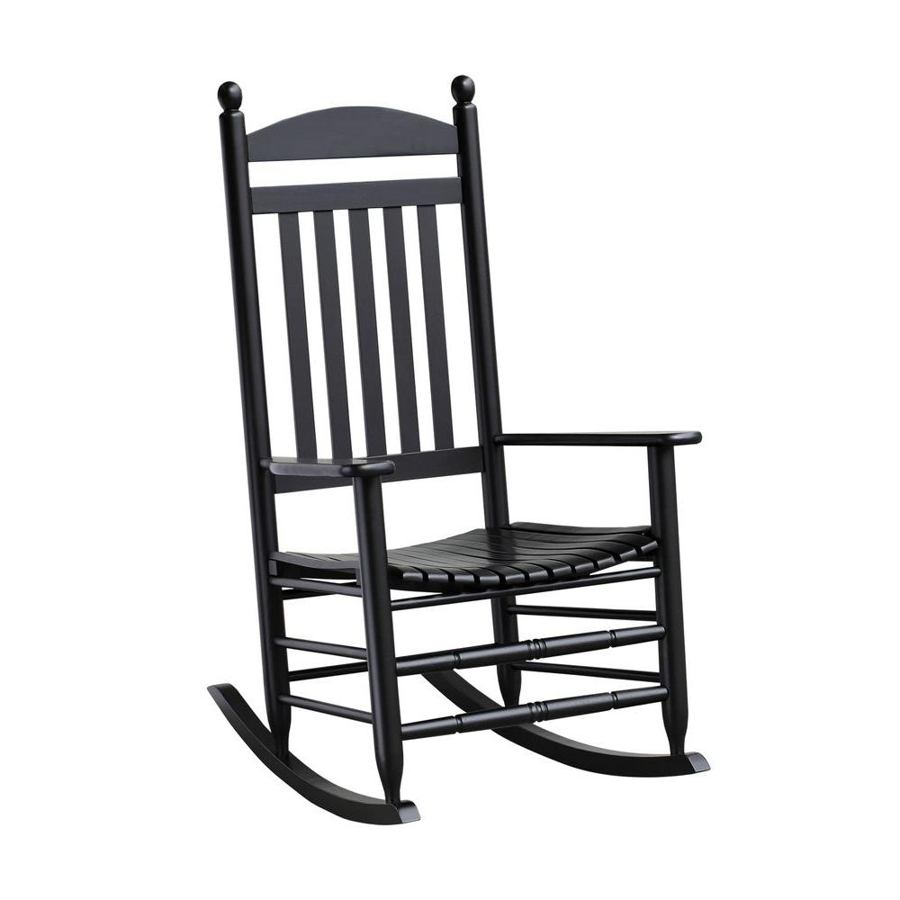 Bradley Black Slat Patio Rocking Chair 200sbf Rta – The Home Depot Intended For Current Rocking Chairs For Porch (View 15 of 20)