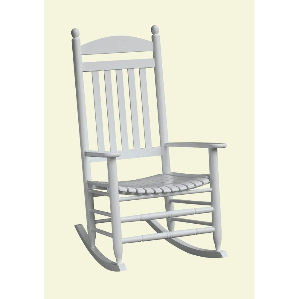 Bradley White Slat Patio Rocking Chair 200sw Rta – The Home Depot For Favorite Rocking Chairs For Patio (View 19 of 20)