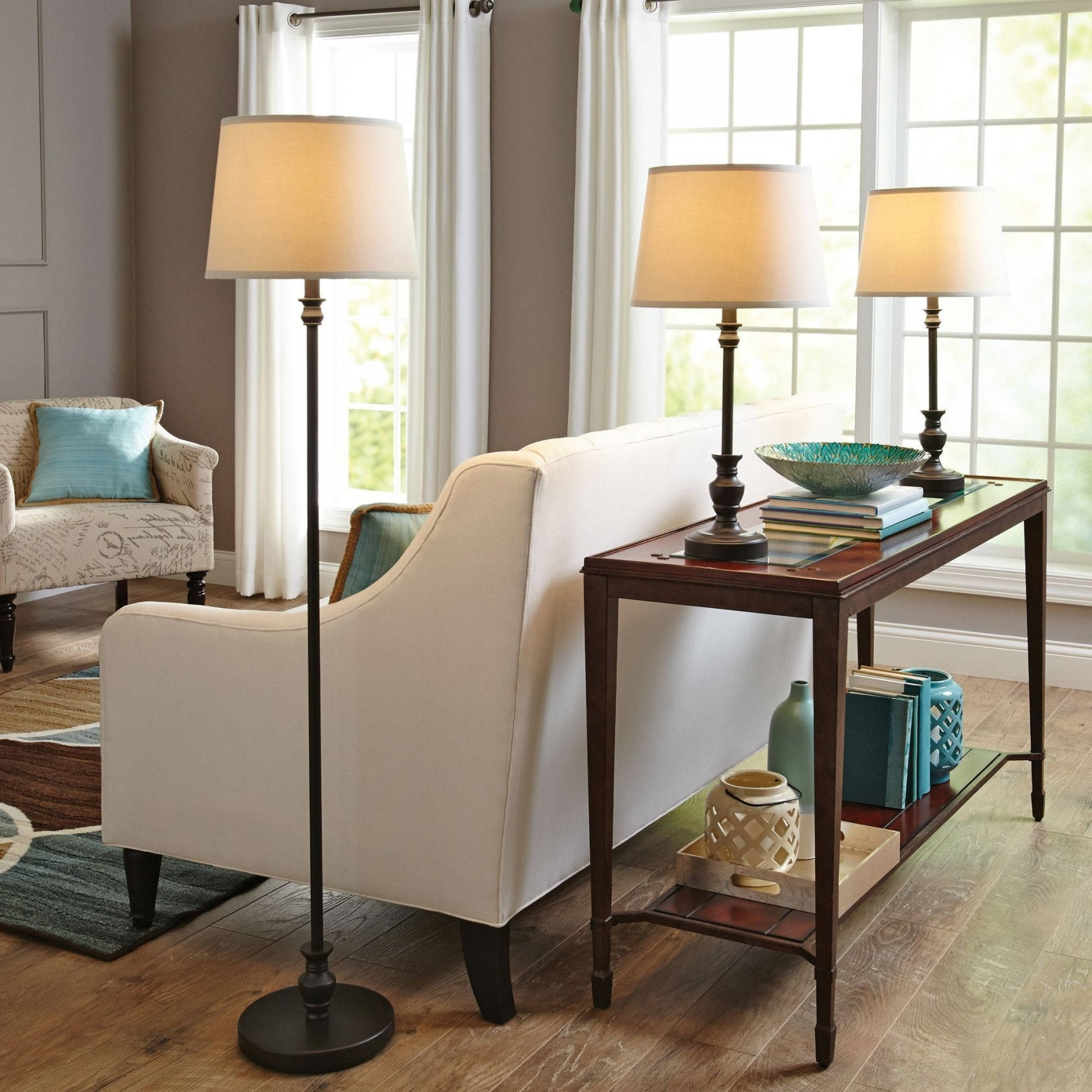 Bronze Living Room Table Lamps In Latest Better Homes & Gardens 3 Piece Lamp Set, Bronze Finish – Walmart (View 17 of 20)