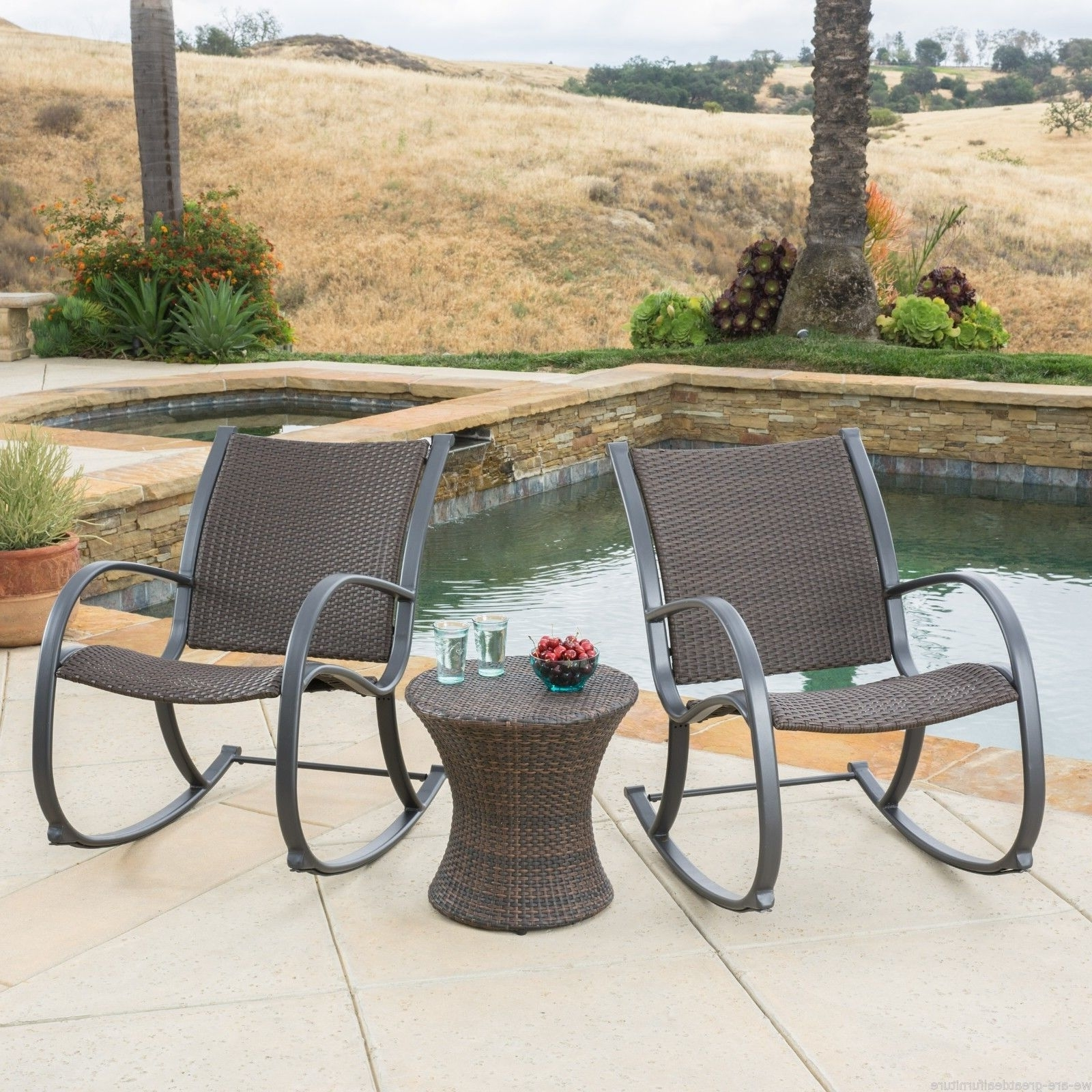 Brown Patio Rocking Chairs Inside Well Known Outdoor Patio Furniture 3pc Brown Wicker Rocking Chair Hourglass (View 19 of 20)