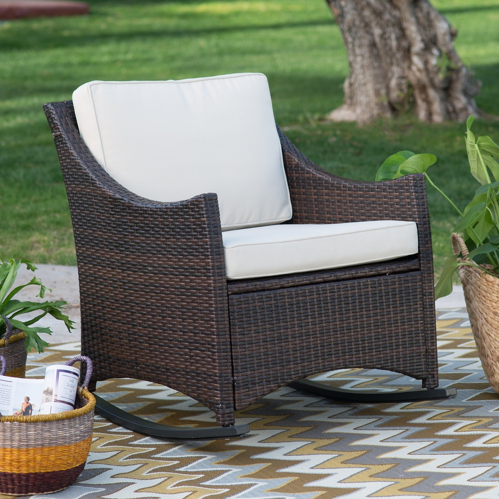 Brown Wicker Patio Rocking Chairs Inside Current Coral Coast Harrison Club Style Rocking Chair With Cushion – Walmart (View 3 of 20)