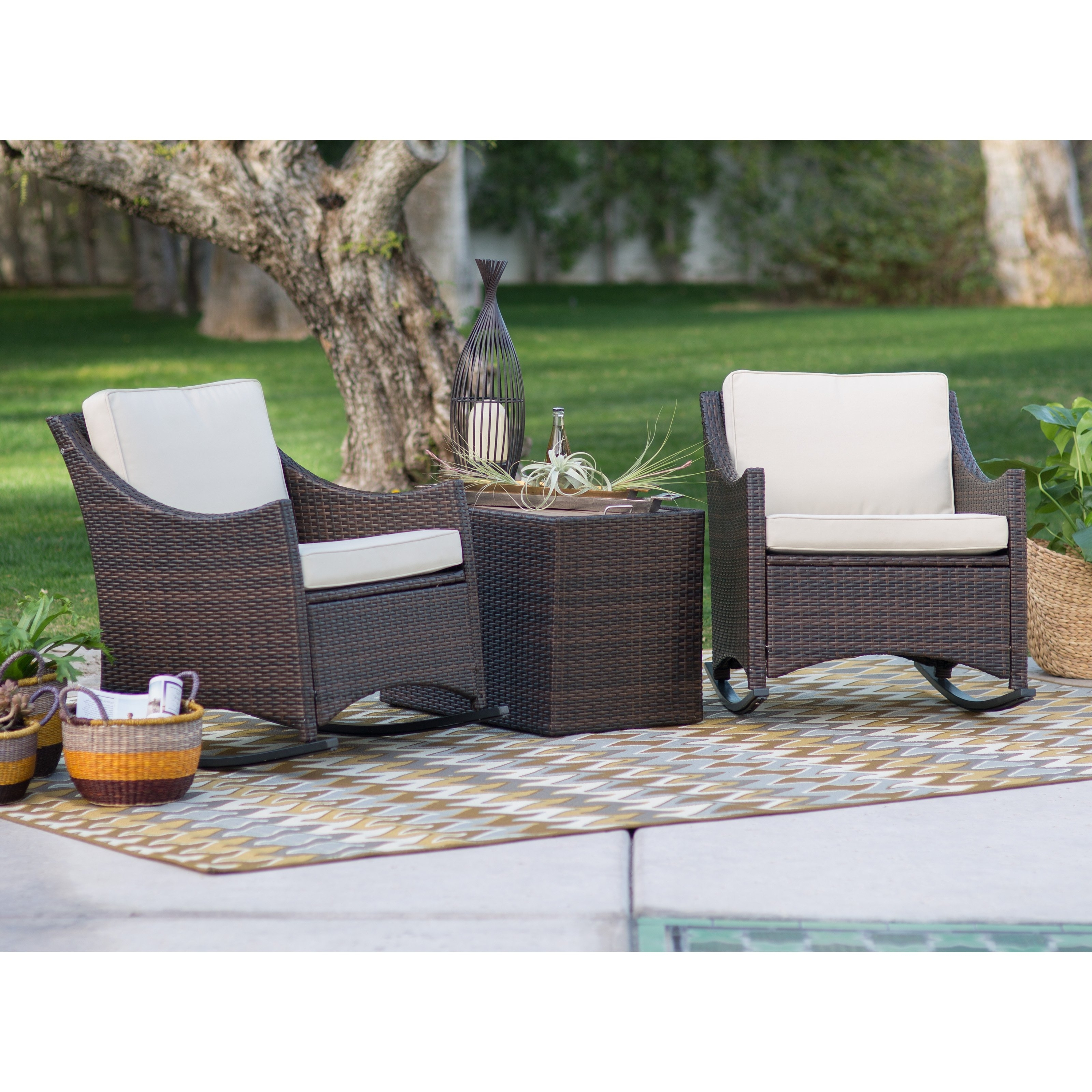 Brown Wicker Patio Rocking Chairs Pertaining To Most Recent Coral Coast Harrison 3 Piece Club Style Rocking Chairs With Side (View 12 of 20)