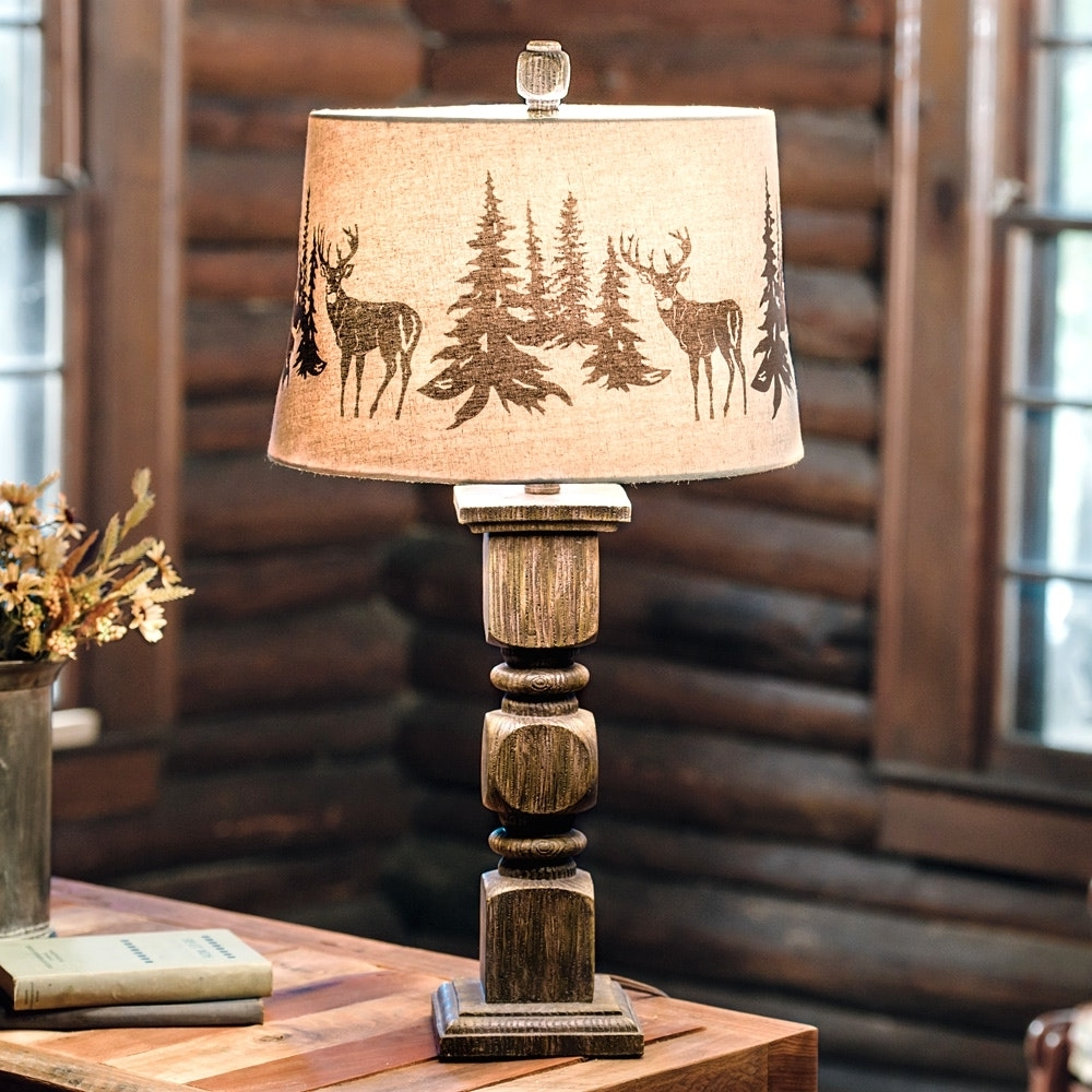 Burlap Lamp Shade Hanging Lamp Shades Rustic Table Lamps For Living Inside Most Popular Wood Table Lamps For Living Room (View 2 of 20)