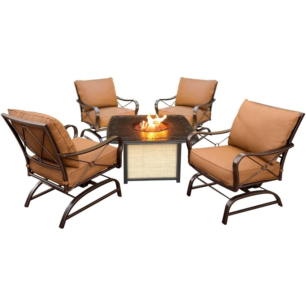 Cambridge Bradford 5 Piece All Weather Patio Conversation Set And Within Current Patio Conversation Sets With Fire Pit Table (View 13 of 20)
