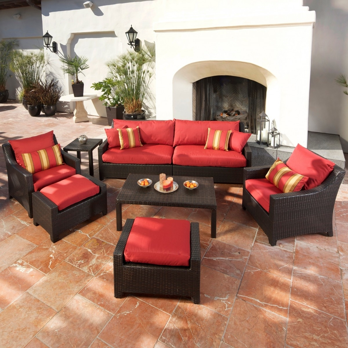 Cantina 7 Piece Sofa Seating Set With Chairs, Ottomans, Side Table Throughout Recent Patio Conversation Sets With Ottomans (View 8 of 20)