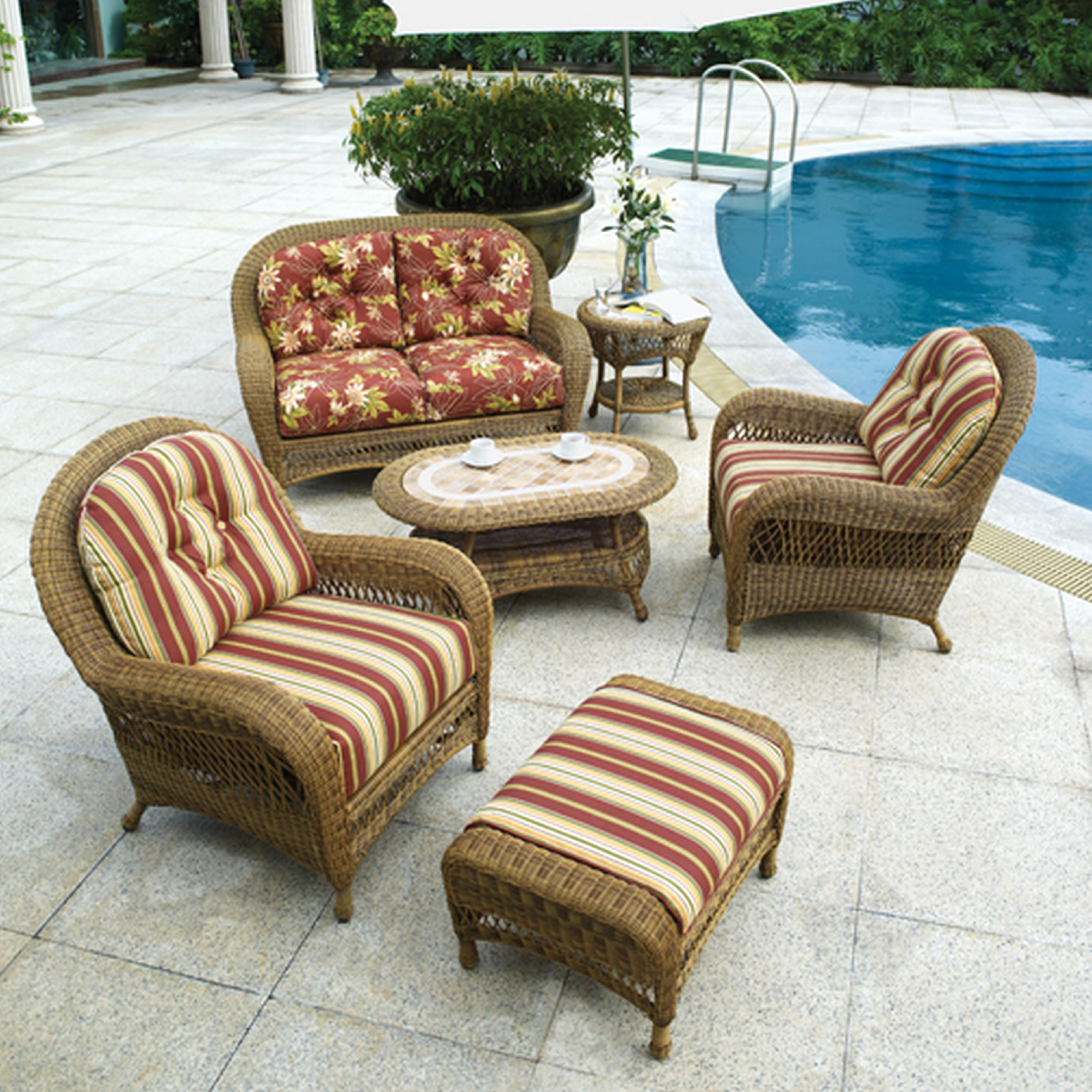 Chair : Magnificent Wicker Chair With Ottoman Additional Styles Of Intended For Latest Patio Conversation Sets With Ottoman (View 8 of 20)