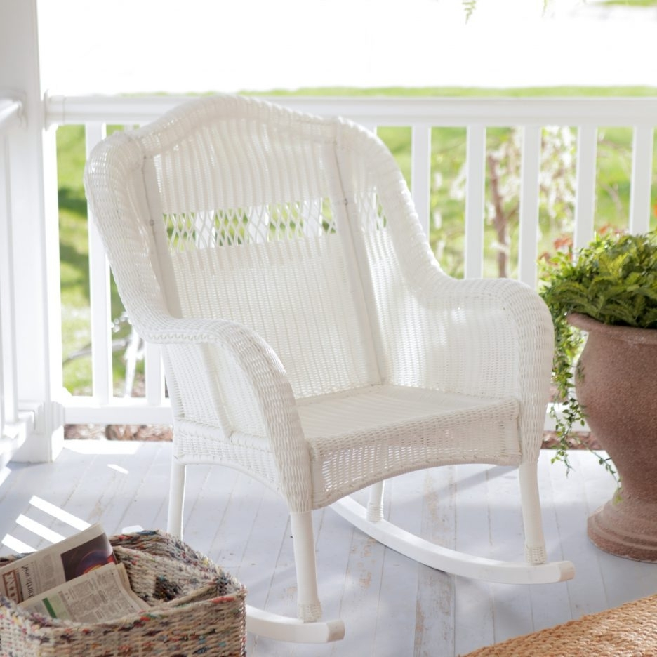 Chair : Outdoor Patio Rocking Chairs Dark Brown Wicker Chair Porch Inside Widely Used White Wicker Rocking Chair For Nursery (View 3 of 20)