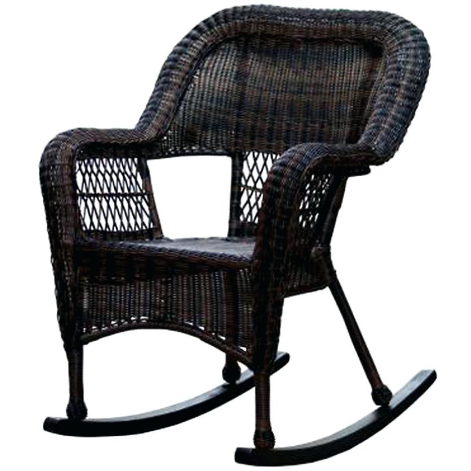 Chair : Outdoor Patio Rocking Chairs Dark Brown Wicker Chair Porch Throughout Recent Wicker Rocking Chairs With Cushions (View 2 of 20)